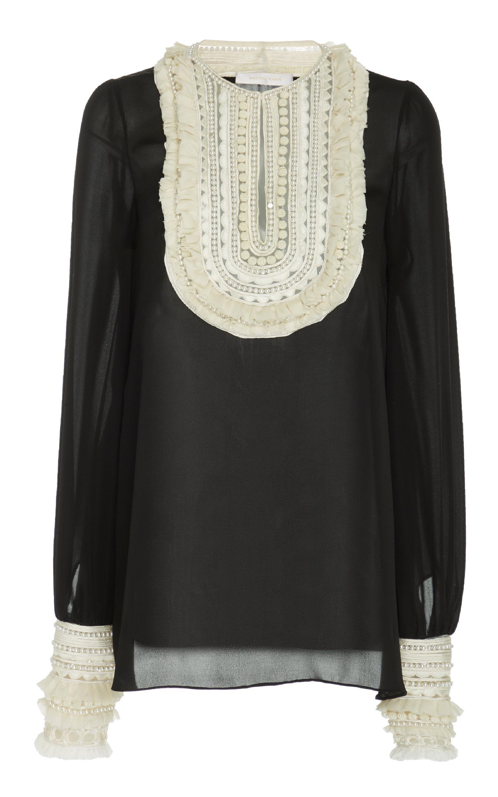f4ed55311b6141 Naeem Khan. Women s Black Embellished Ruffle-trimmed Silk Chiffon Blouse