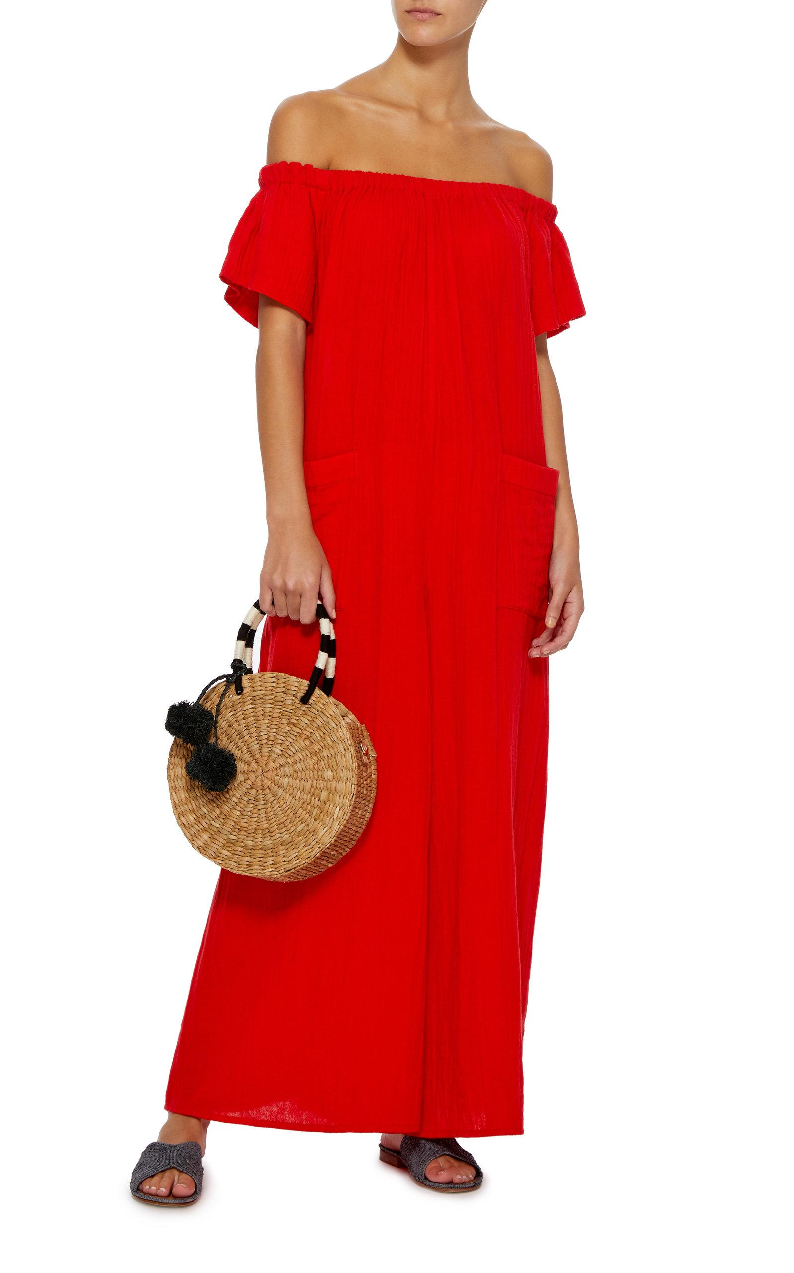 a65f14dc30d Lyst - Mara Hoffman Blanche Off-the-shoulder Cotton Jumpsuit in Red