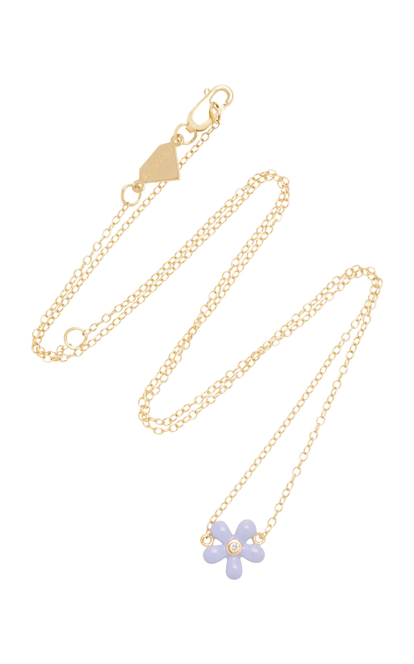 14k Or Saphir Rose Et Collier De Diamants Alison Lou CS0m3zJ8