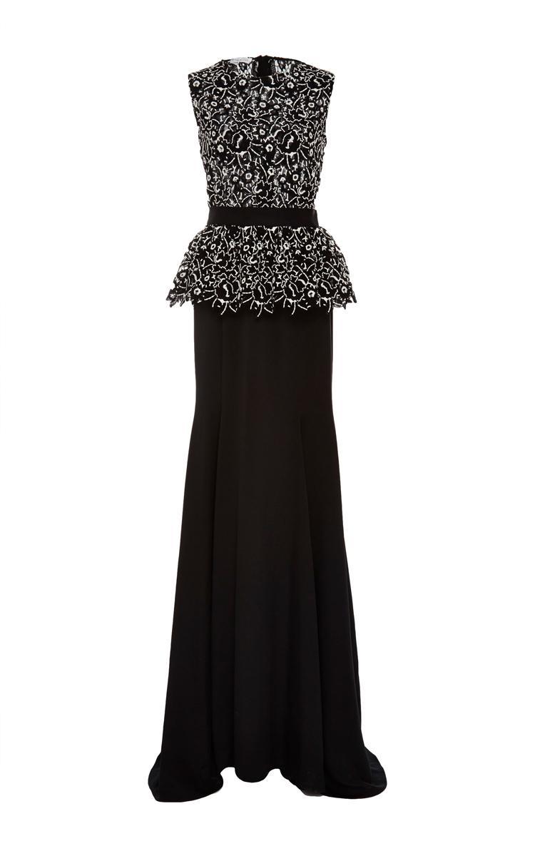 Oscar de la renta Sleeveless Peplum Gown in Black