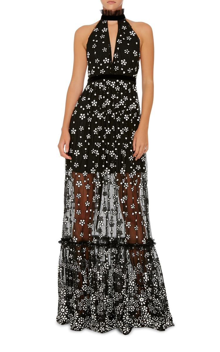 Lyst Alexis Florence Embellished Halter Gown In Black
