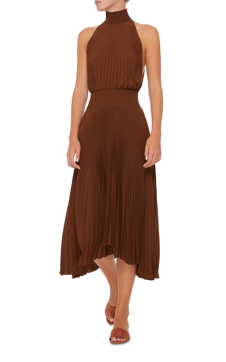 A L C Renzo Pleated Halter Dress In Brown Lyst