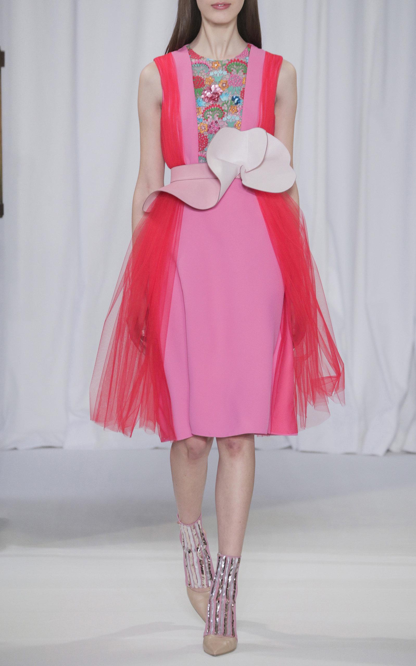 y vestido tul de rosa color Lyst Delpozo crepé bloque bordado xqwHpFS4