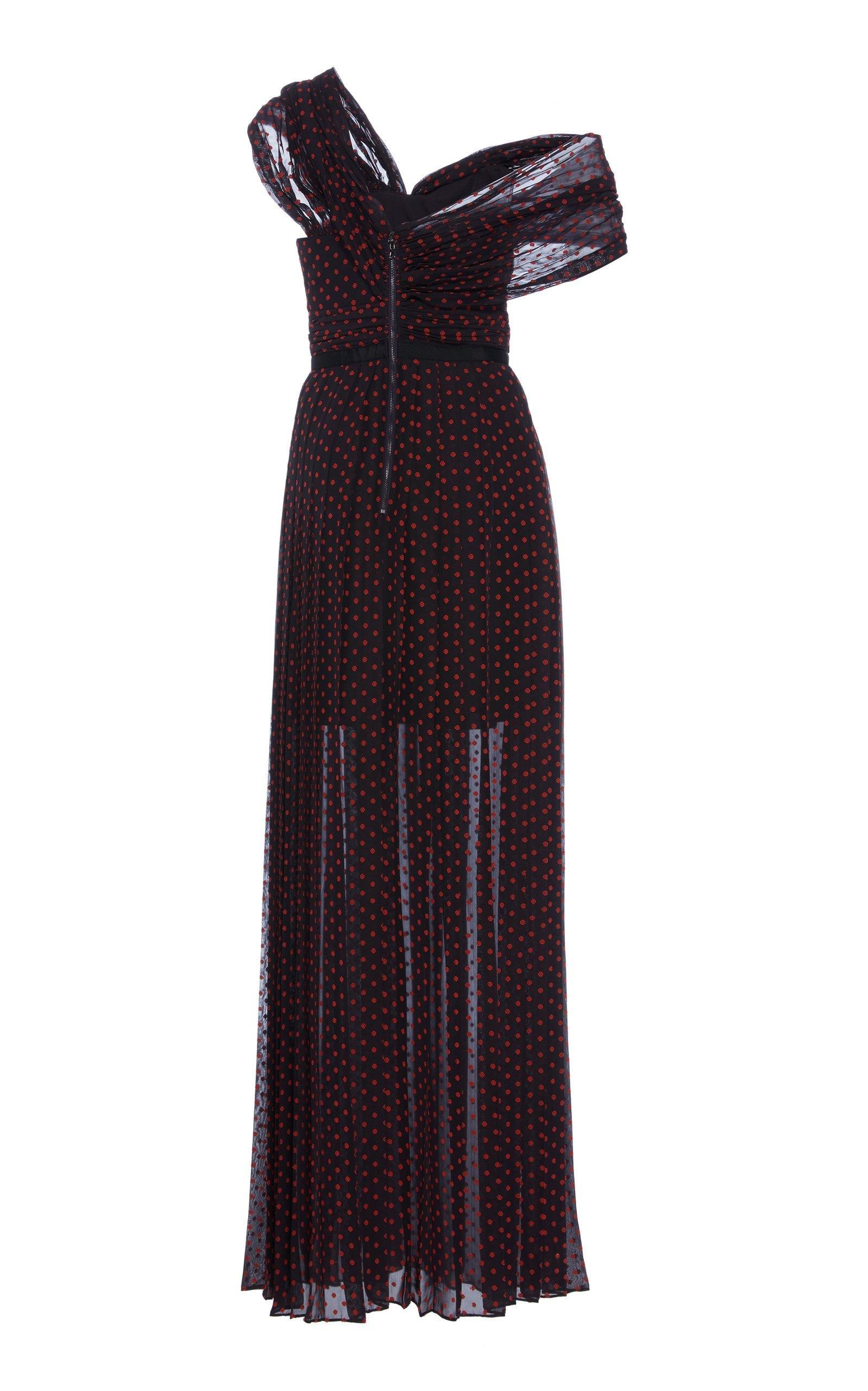 7965a6e832c Self-Portrait One Shoulder Plumetis Maxi Dress in Blue - Lyst