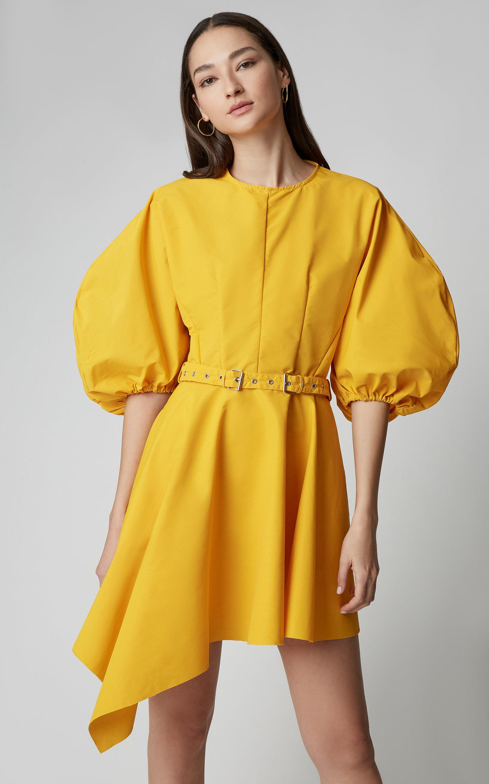 Mini en de color vestido marques almeida Faille con amarillo Lyst manga  asimétrica rYr0w6 2f5cff2a5ebe