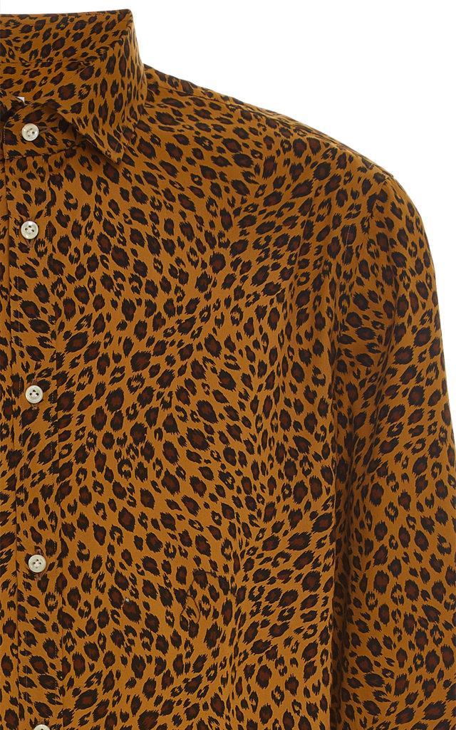 7e49cf0394db ... Leopard-print Cotton-poplin Button-up Shirt for Men -. View fullscreen