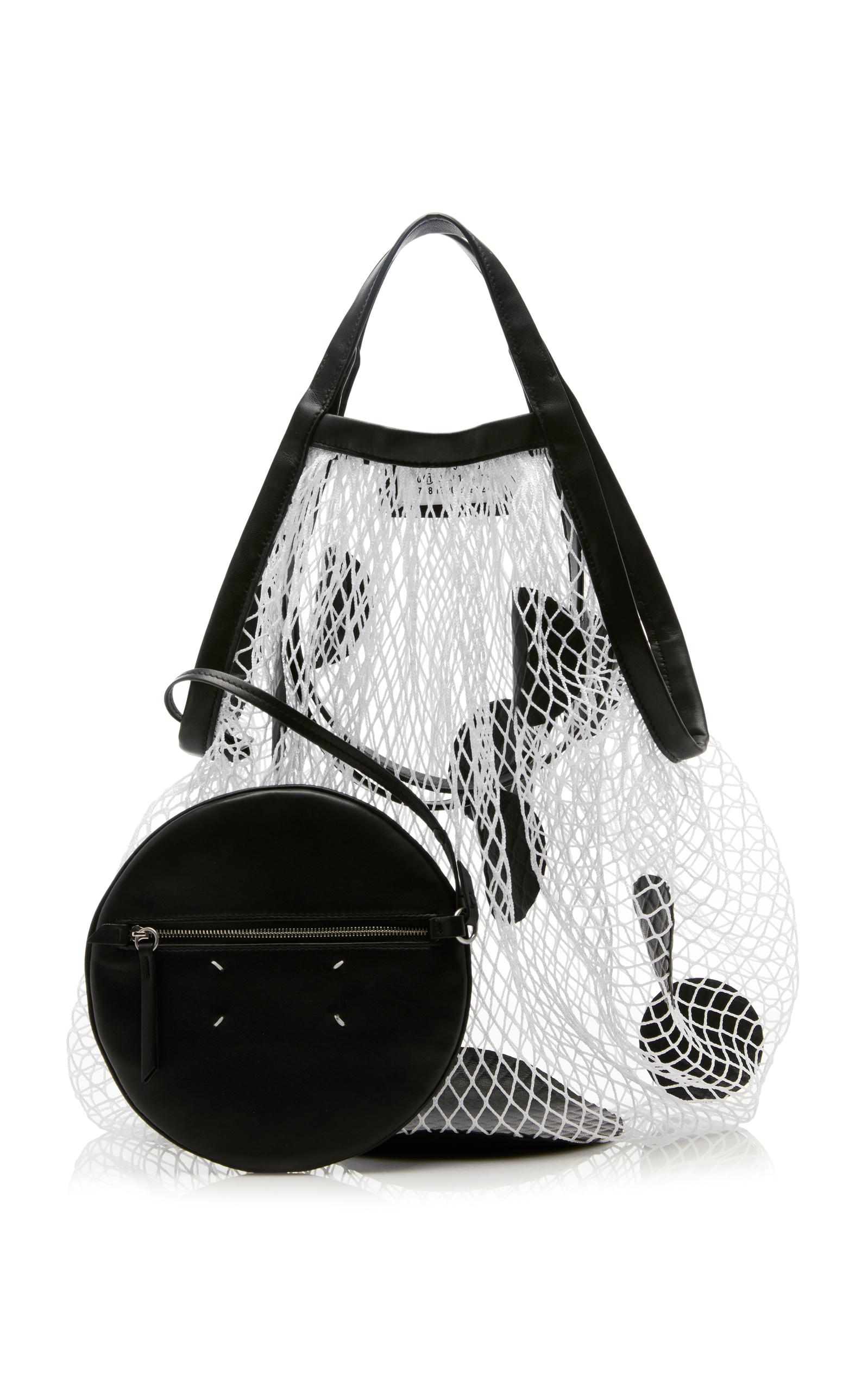 Lyst maison margiela polka dot net tote in black for Maison de margiela