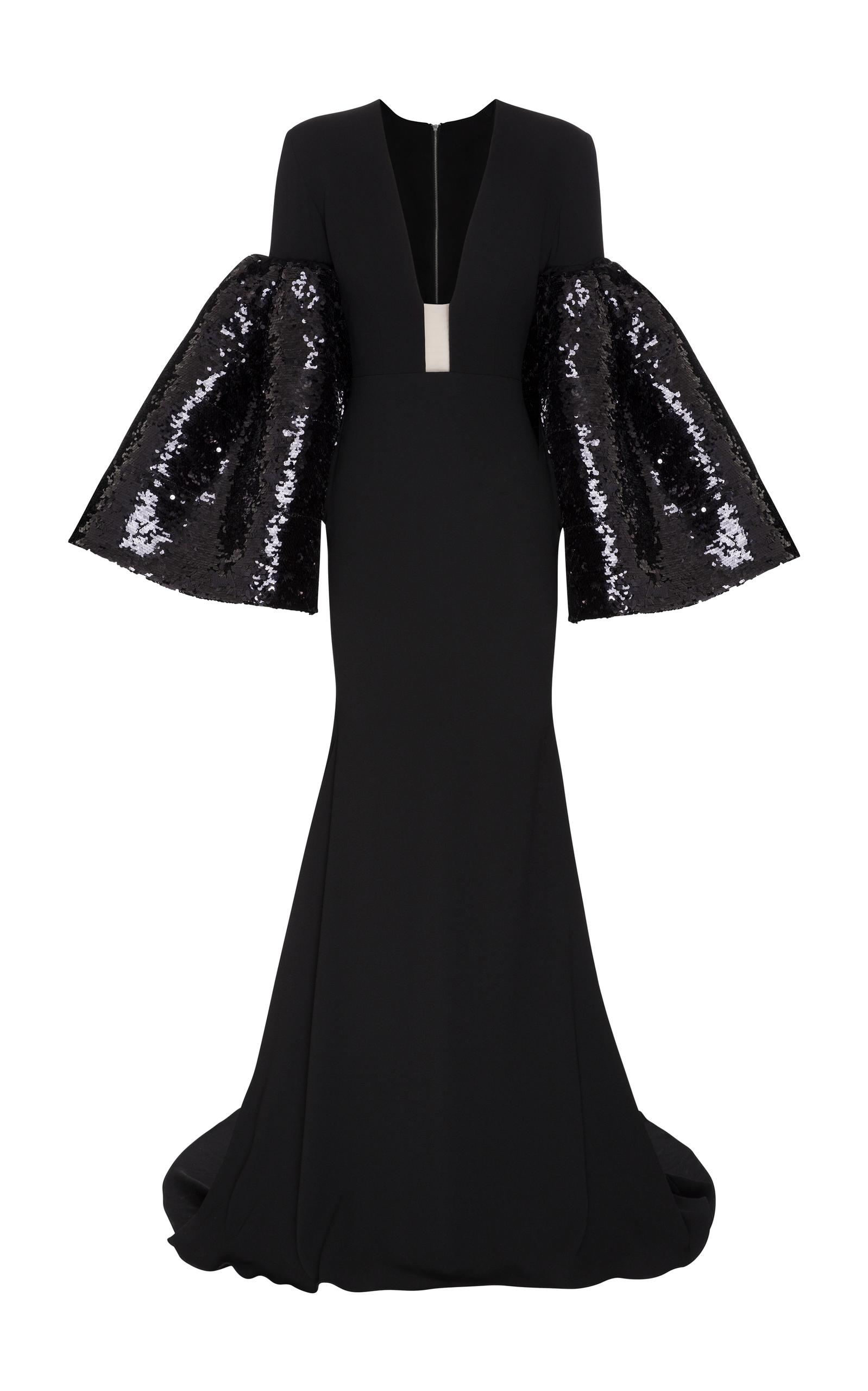 e939c558 Lyst - Alex Perry Veronica Satin Crepe Long Sleeve Sequin V Gown in ...