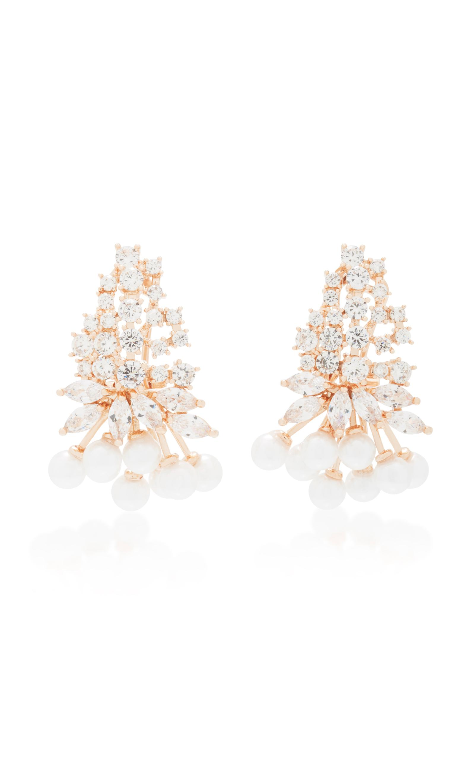 Fallon Monarch Juniper Cluster Crystal And Rose Gold-plated ...