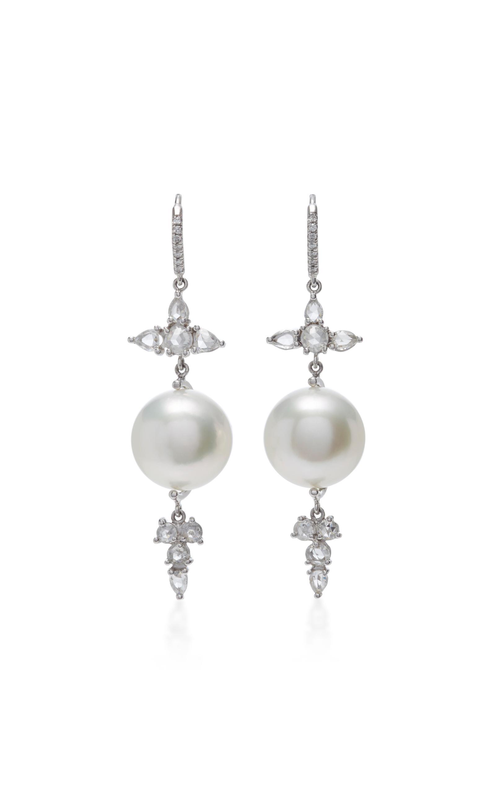 Lyst Nina Runsdorf 18k White Gold Baroque Pearl And Diamond