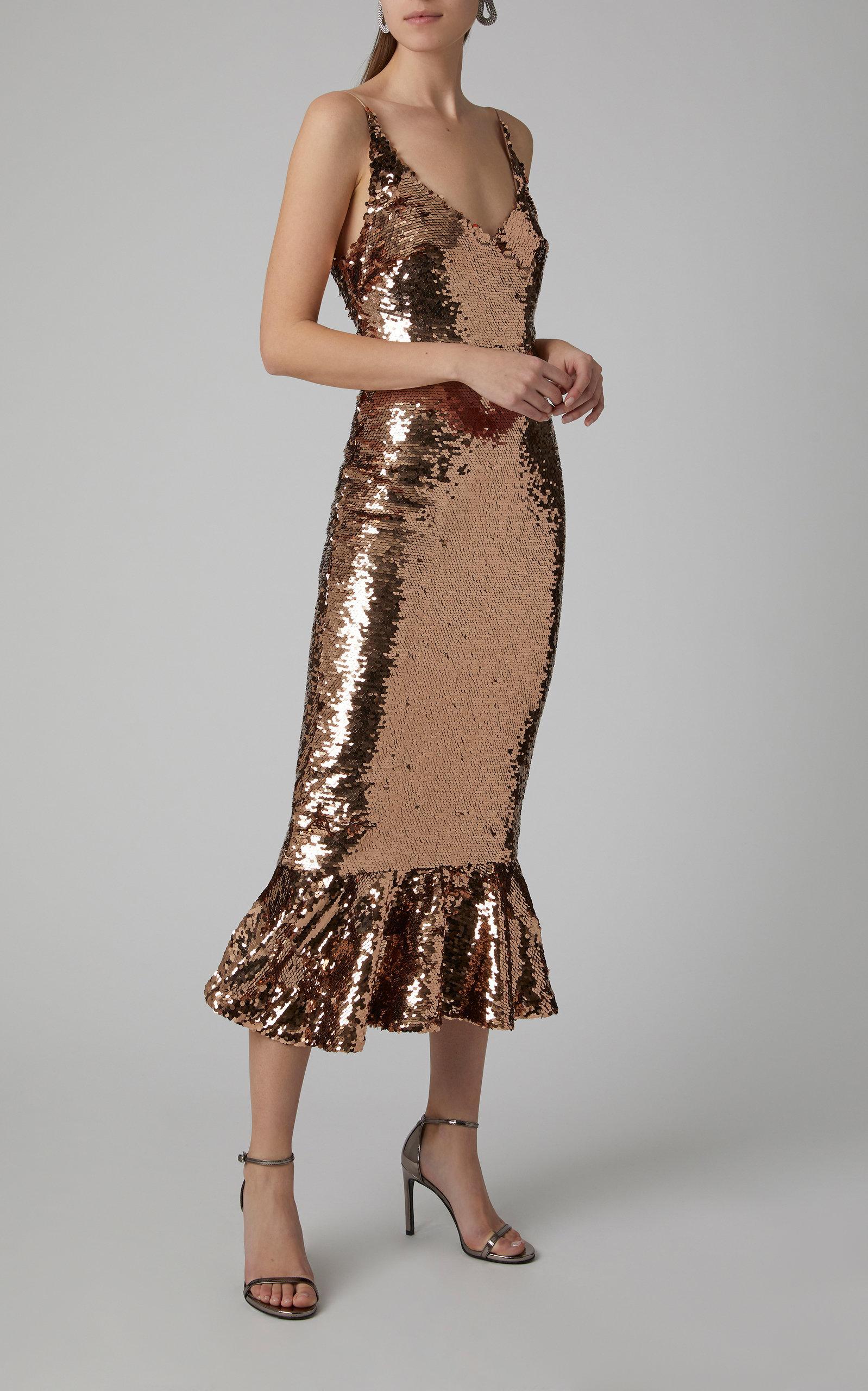 eff5b713 Saloni Aidan Sequin Midi Dress in Metallic - Lyst