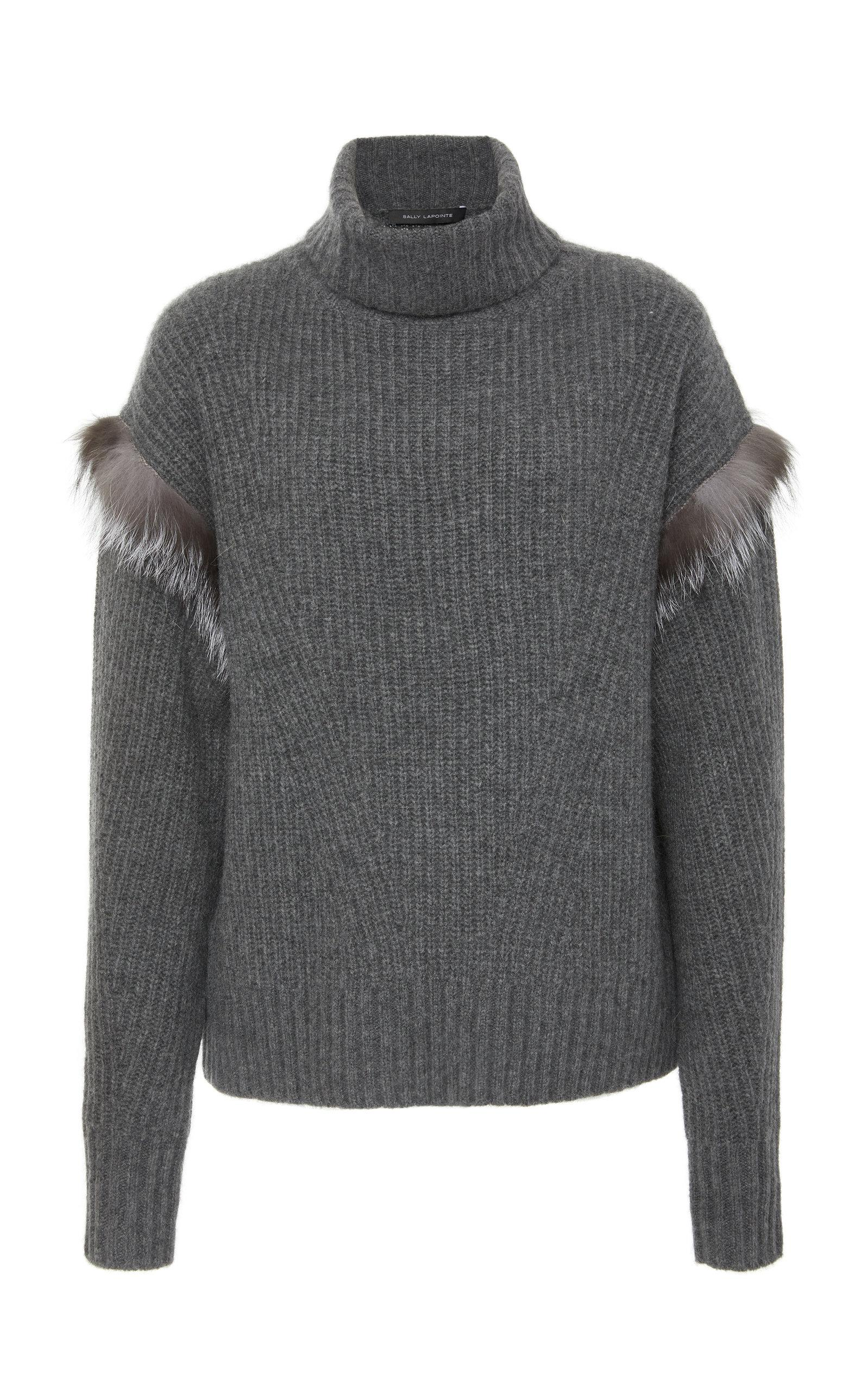 Sally Lapointe M'o Exclusive Cashmere View Fur Fullscreen Touch Lyst Of Sweater Gray FF1wqr
