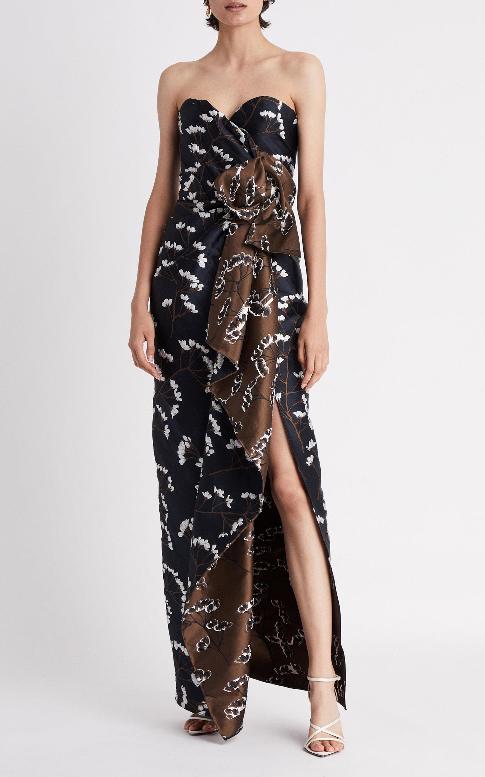 a149263e91c00 Oscar de la Renta - Blue Neck & Waist Bow Column Dress - Lyst. View  fullscreen
