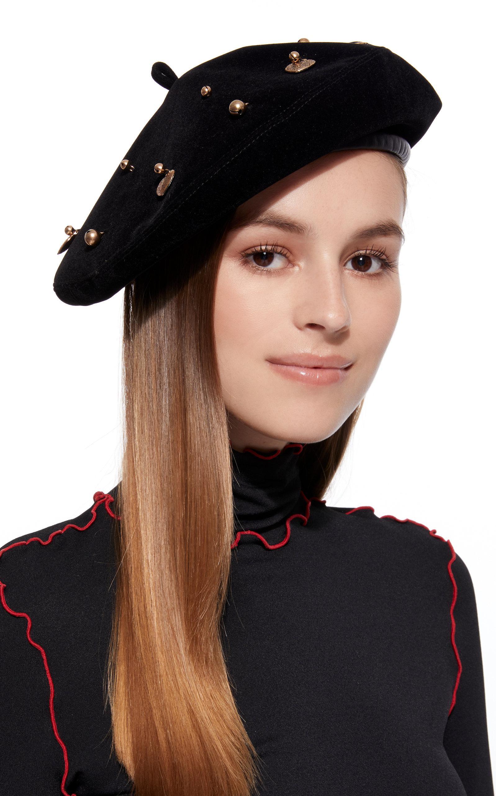 6d1eb1339fd05 Eric Javits - Black Arrive Embellished Velvet Beret - Lyst. View fullscreen