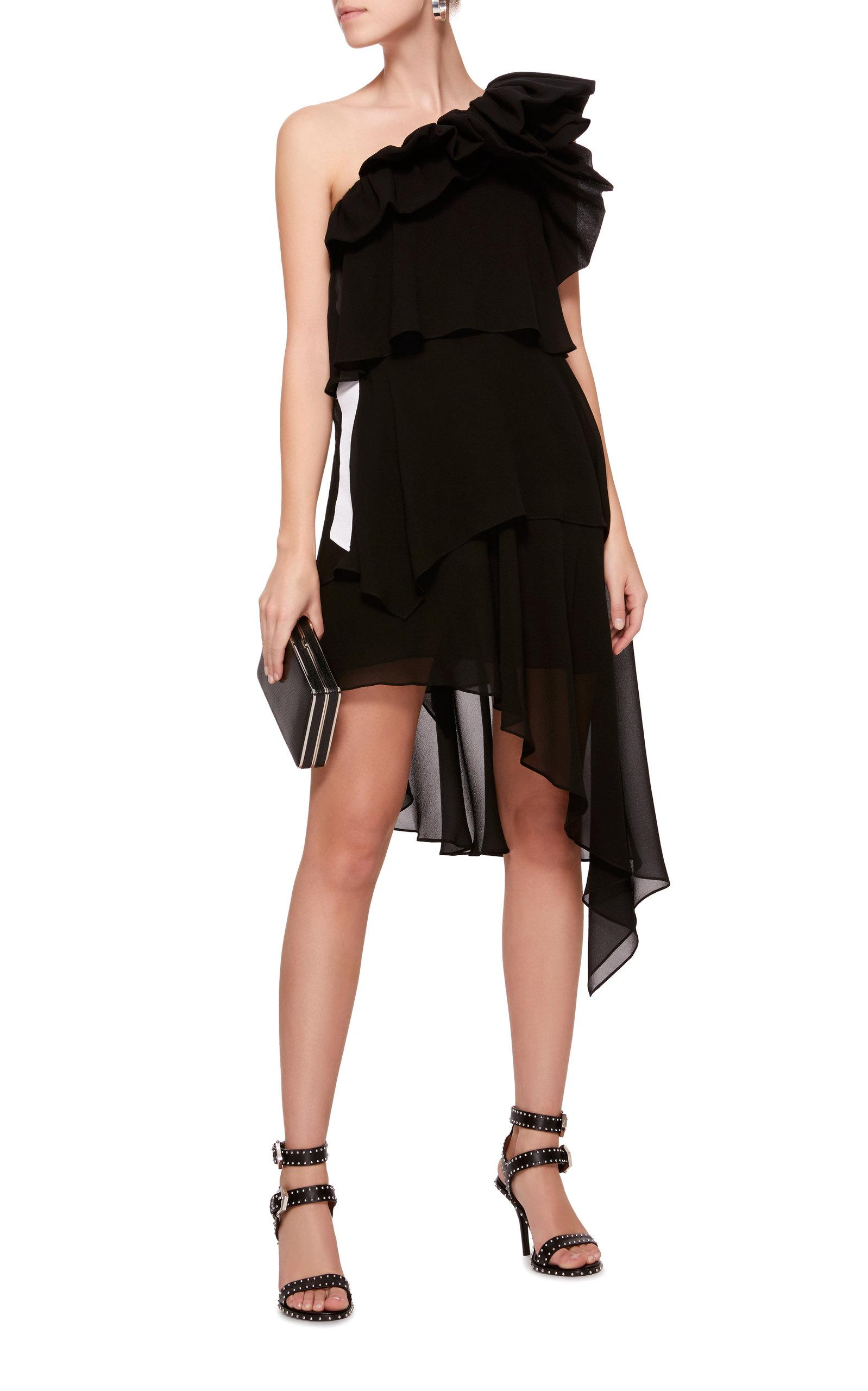 Black silk georgette long dress Givenchy H5zCuWG