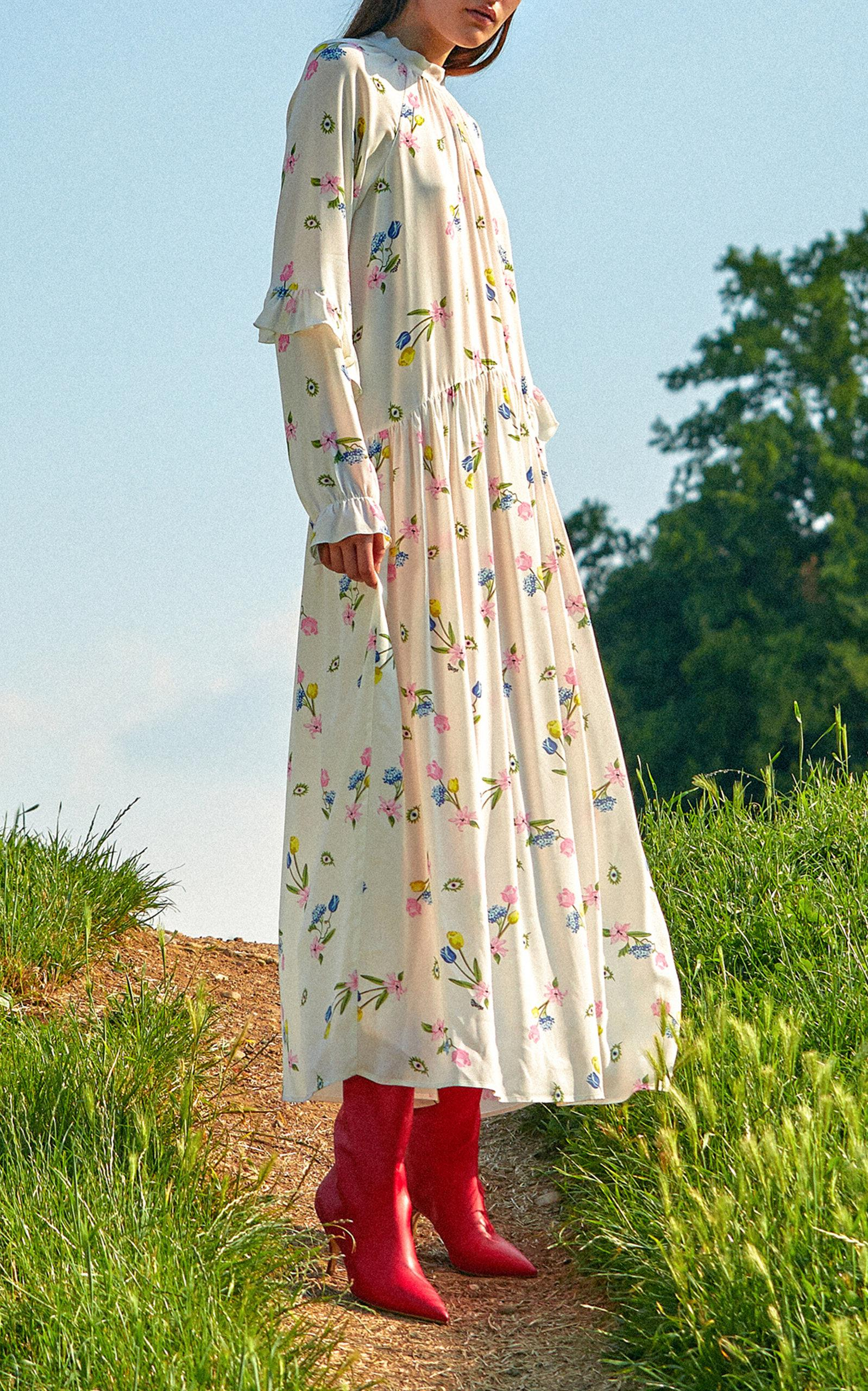 Savona Peasant Maxi Dress Vivetta Limited New Styles For Sale 3H5JKm