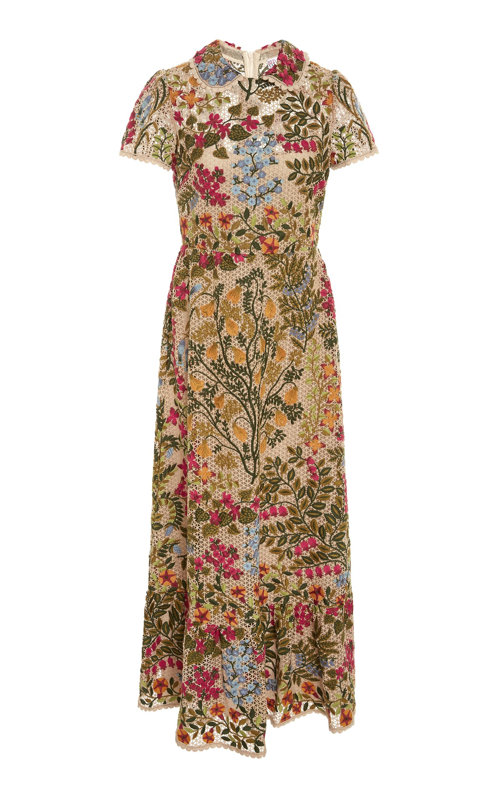 130ce2b537a RED Valentino Floral Embroidered Macramé Dress - Lyst