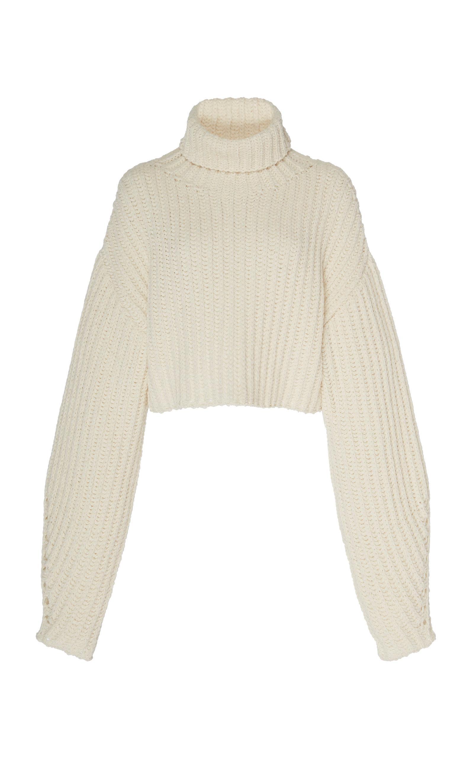 67c3dbcf0df Sally Lapointe Silk Cashmere Cord Cropped High Neck Sweater - Lyst