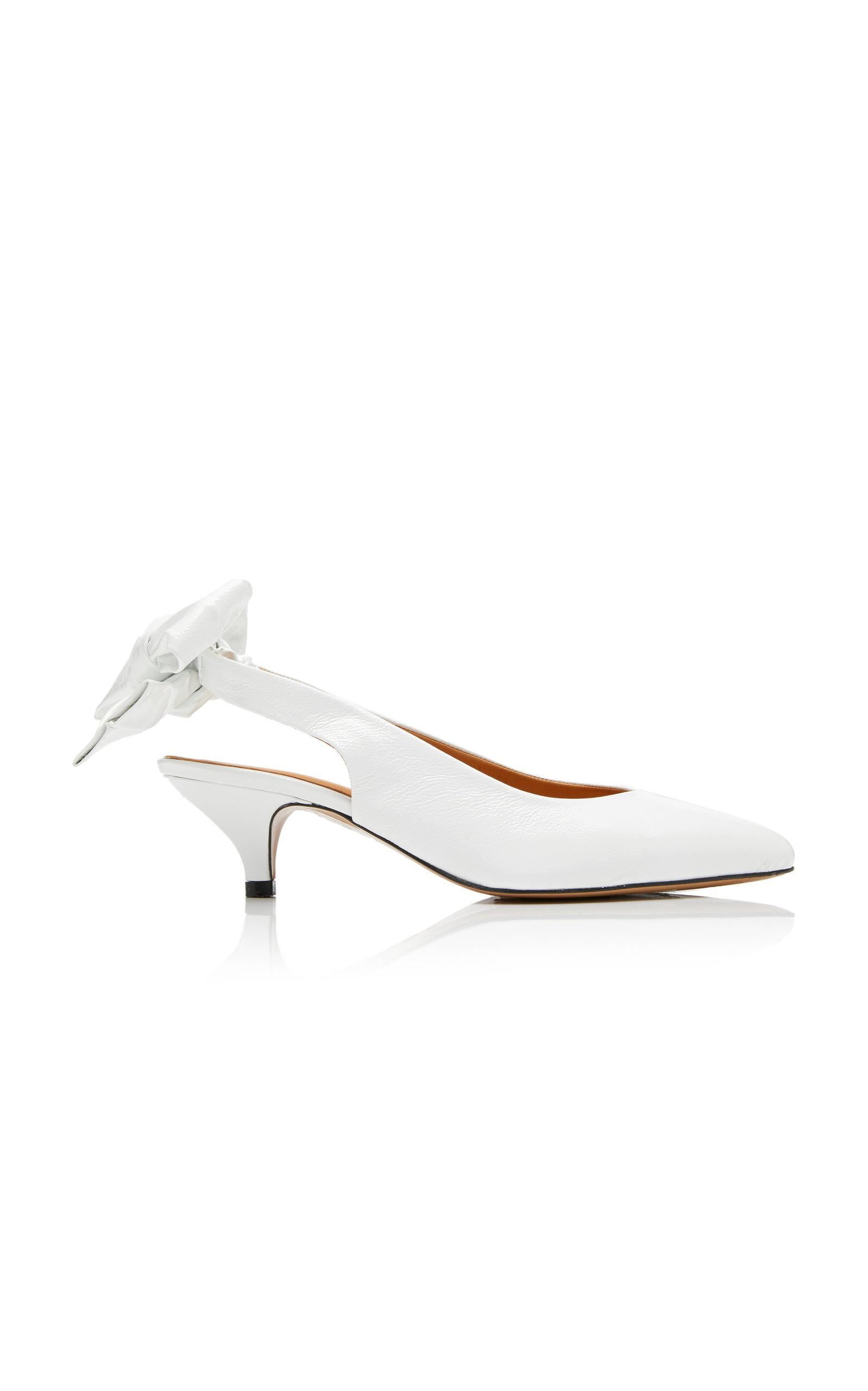 daf626103cd Ganni Bow-detailed Leather Slingback Pumps in White - Save 40% - Lyst