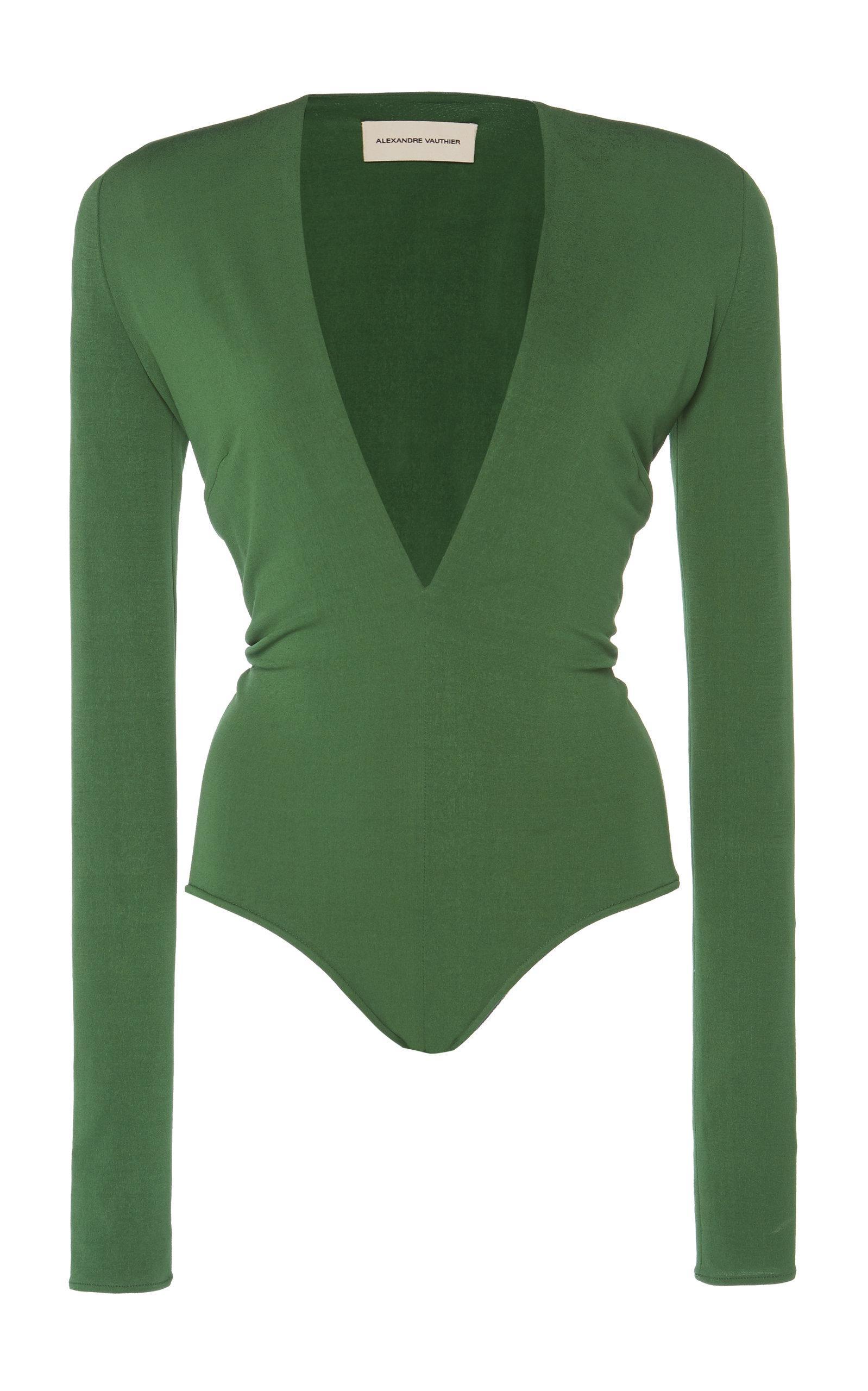 Alexandre Vauthier - Green Plunging Crepe Body Suit - Lyst. View fullscreen 8259843d5