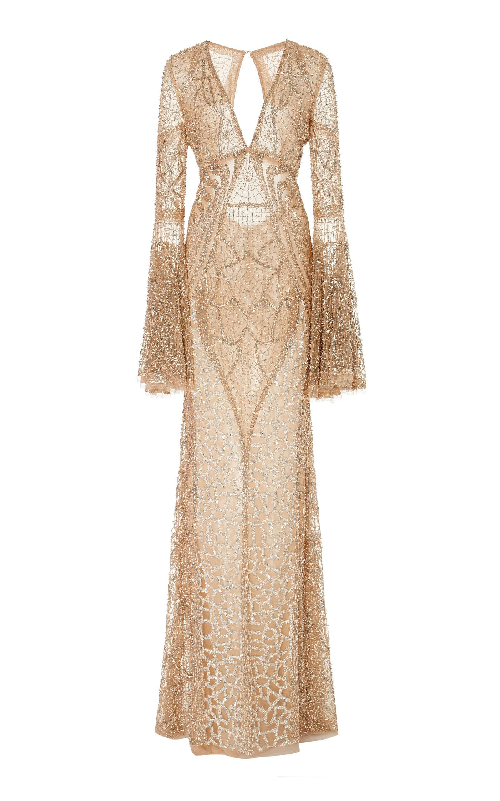 2d7486cb6b Lyst - Naeem Khan Bead Embroidered Flared Sleeve Gown in Metallic