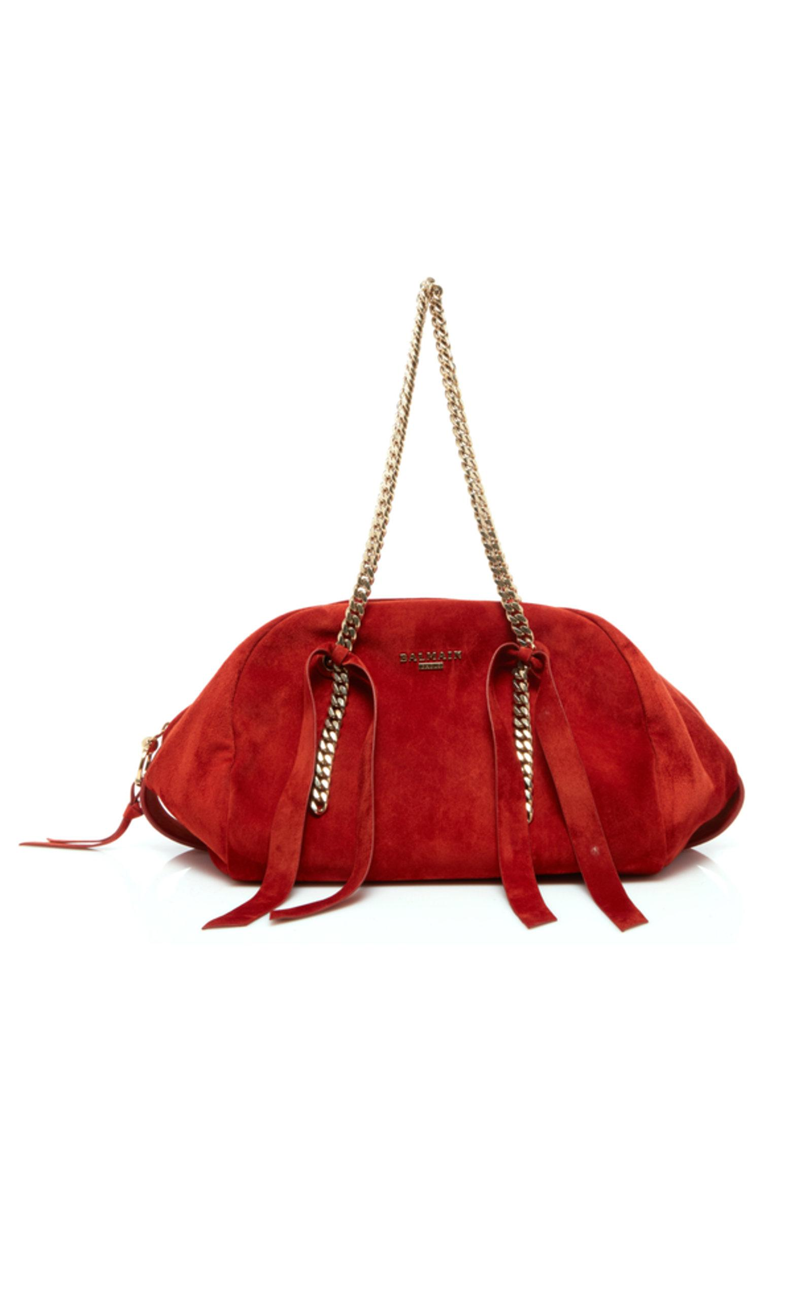 a9de7185aa3 Lyst - Balmain Suede Medium Moon Bowling Bag in Red