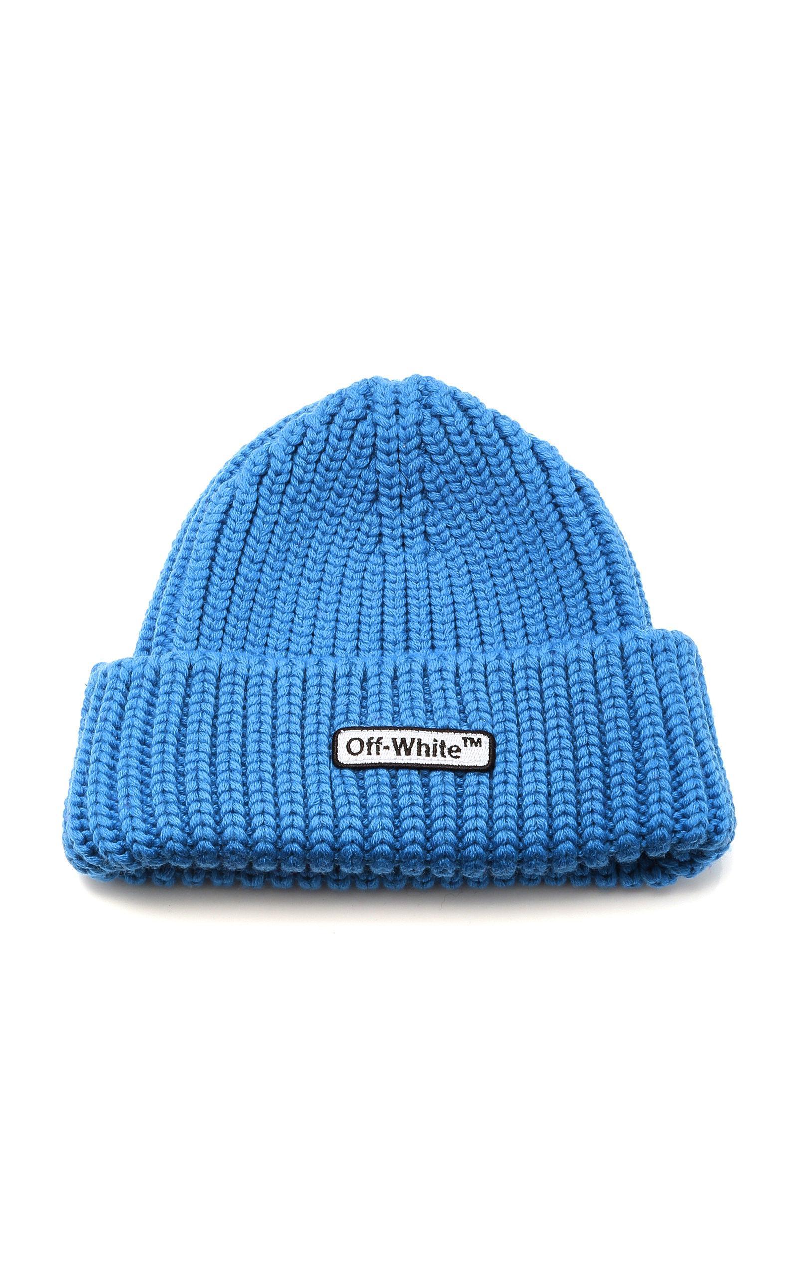 6004d7fc Off-White c/o Virgil Abloh Logo Beanie in Blue for Men - Lyst