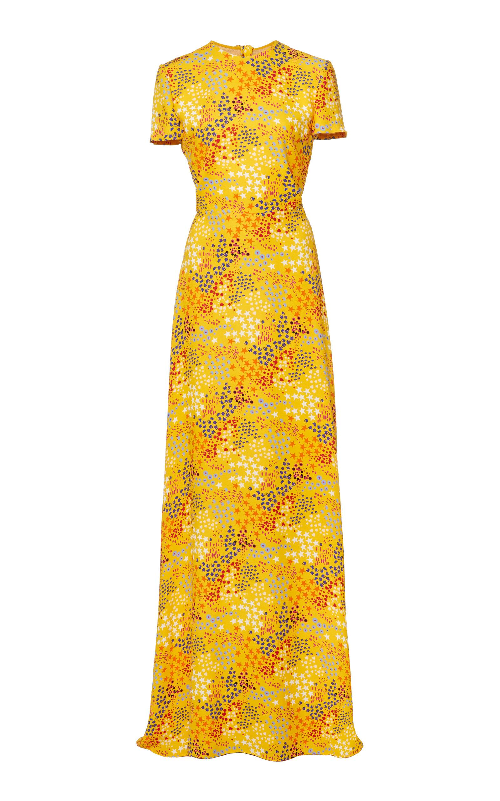 f46cceee2b4aa Lyst - Carolina Herrera Open-back Printed Crepe De Chine Gown in Yellow