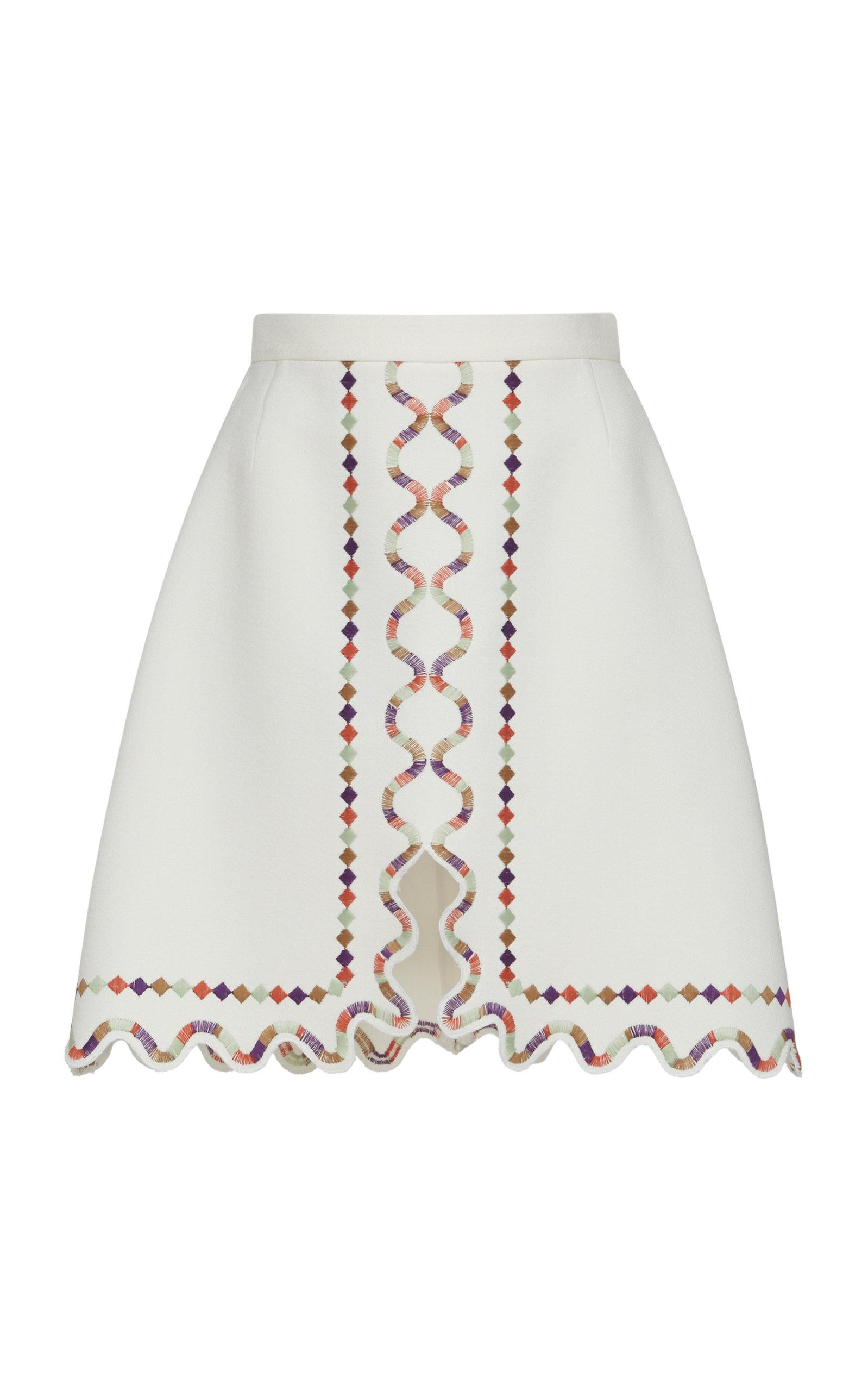 5261fce3fe Giambattista Valli Embroidered Crepe Mini Skirt in White - Lyst