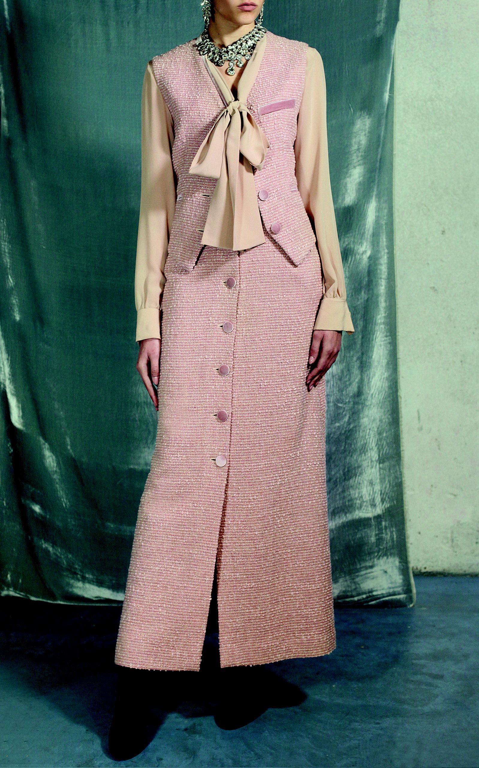 b74744e11590 ... Pink Virgin Wool Tweed High Waist Skirt - Lyst. View fullscreen