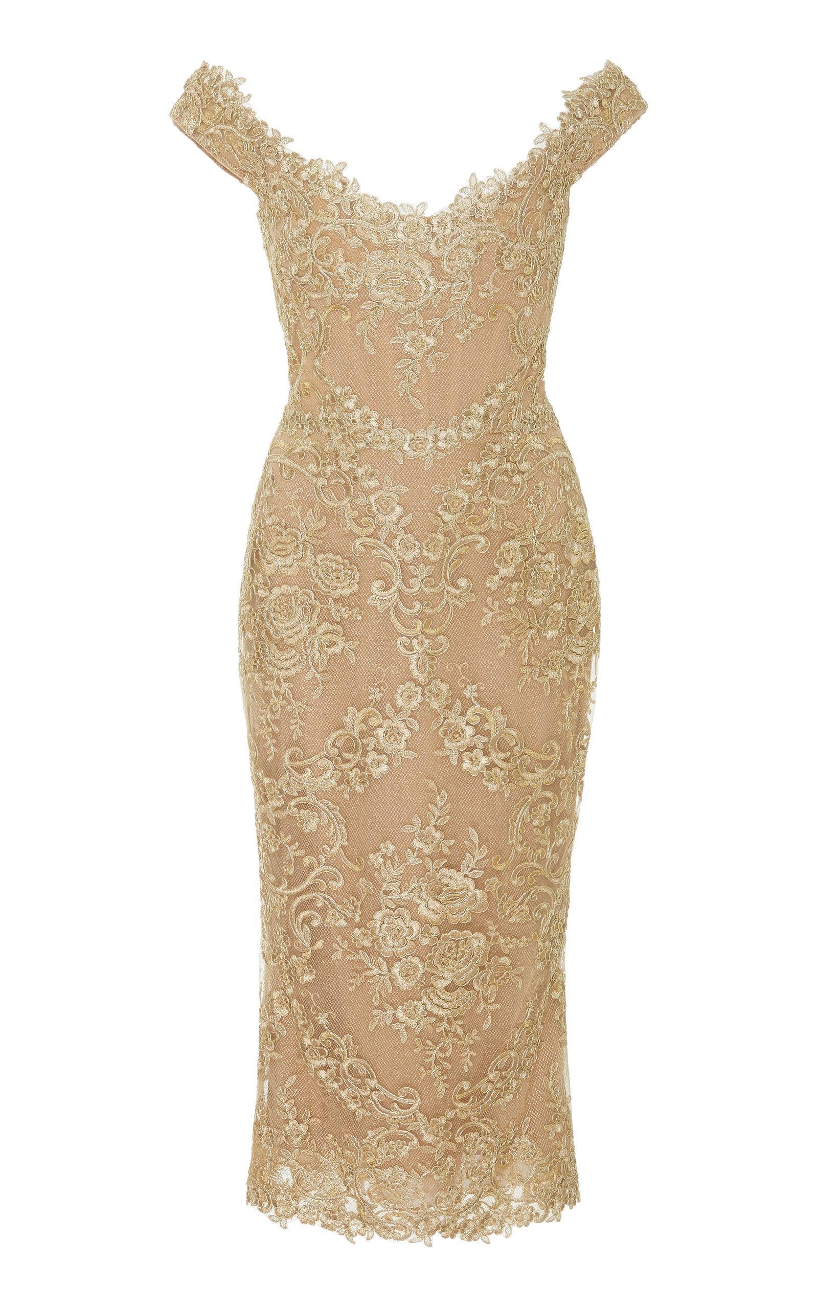 4fd1492c88 Marchesa. Women's Off-the-shoulder Metallic Corded-lace Midi Dress
