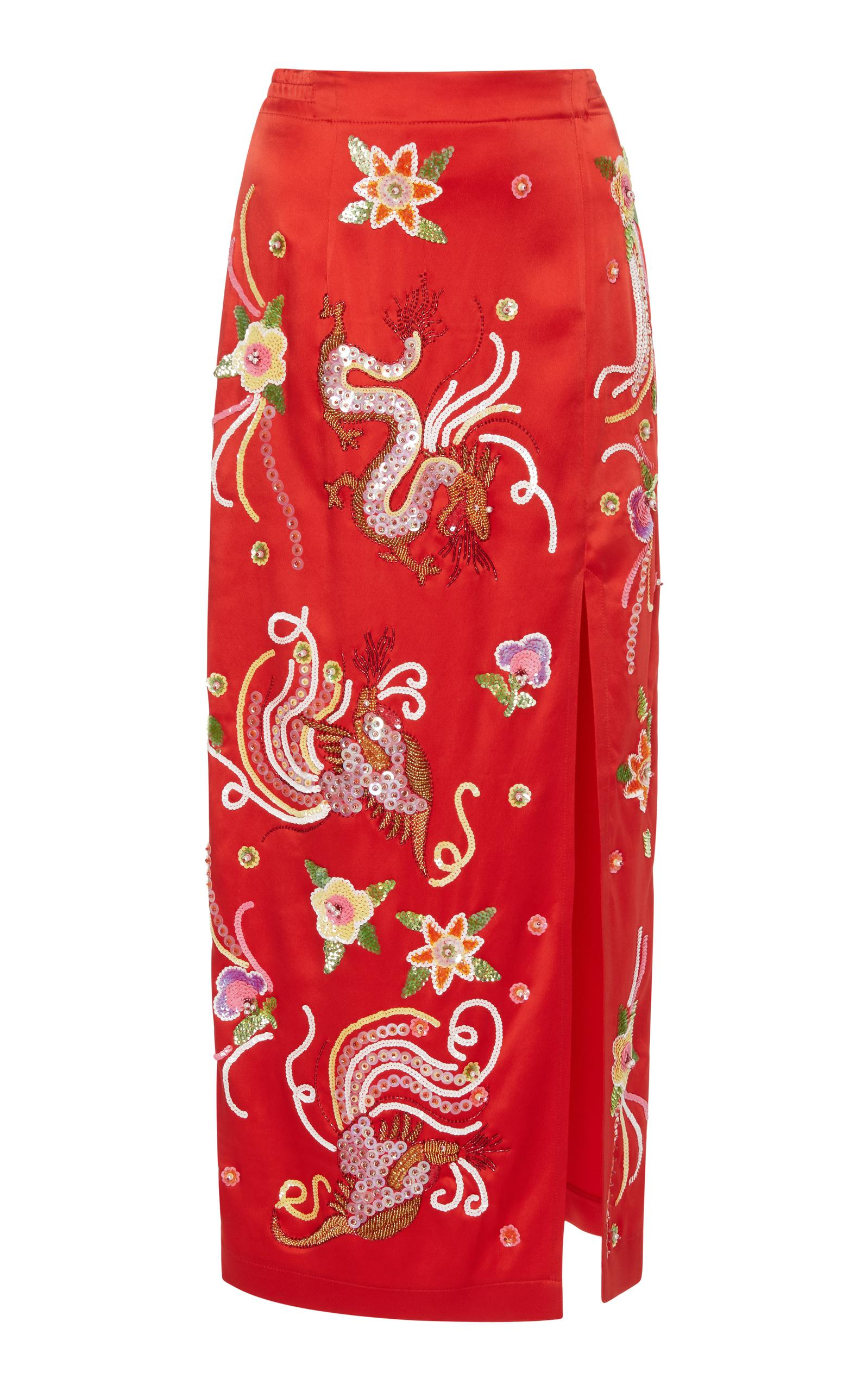 Get Online Sast For Sale Embroidered-dragon satin skirt Attico Pay With Visa Cheap Price gBpoTBO