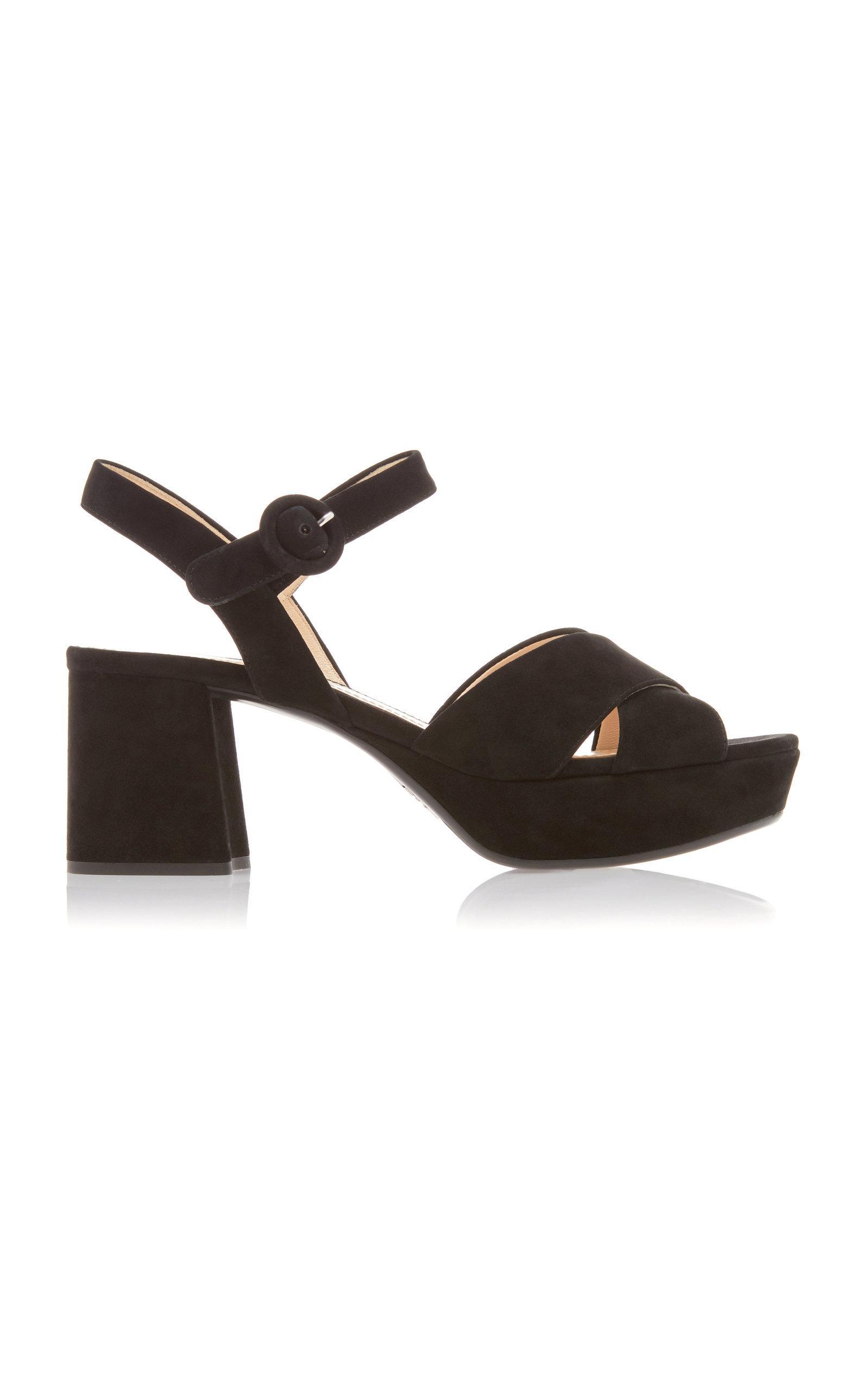 580ec066b18d Lyst - Prada Suede Platform Sandals in Black