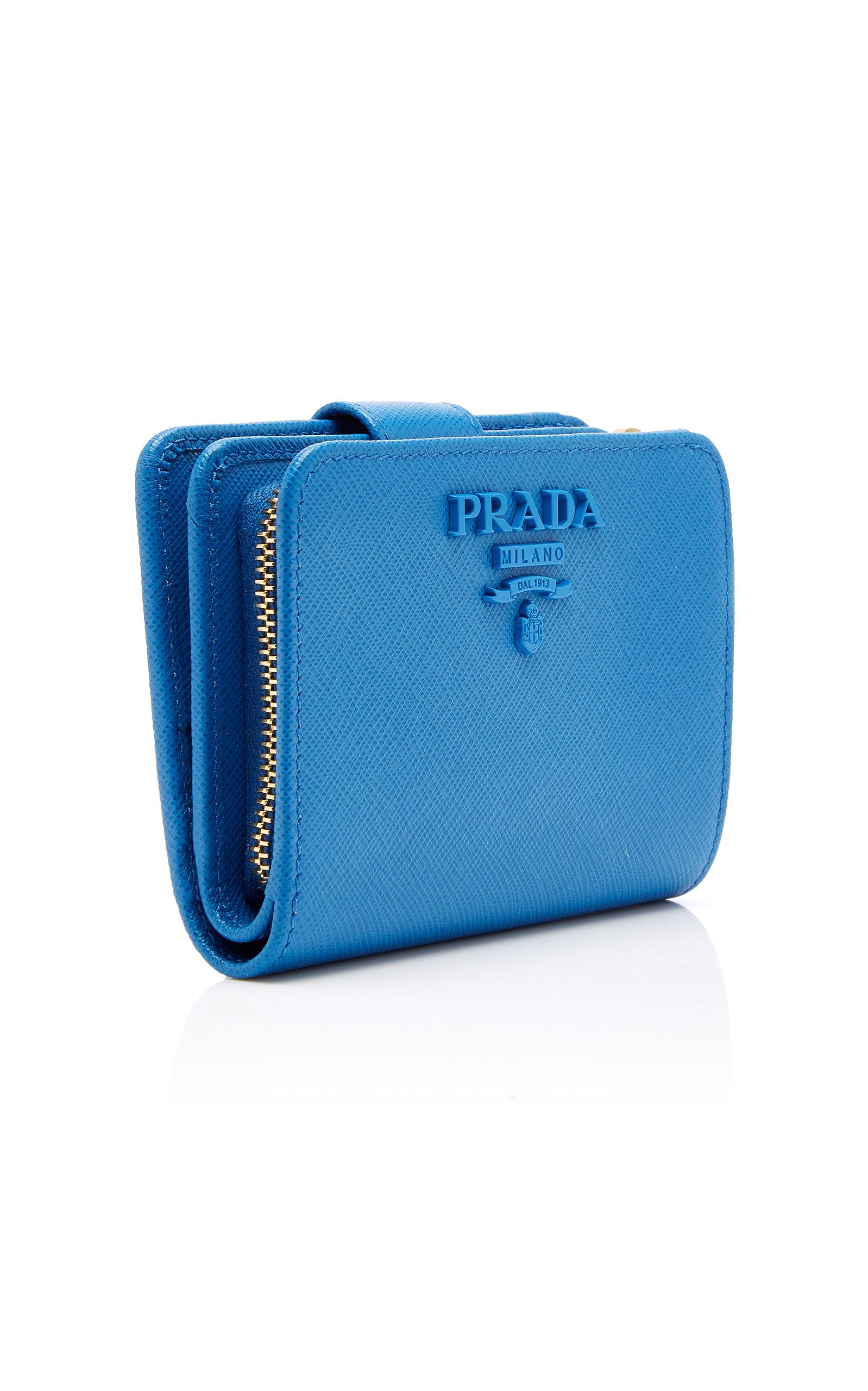 ade66ee530ff Prada - Blue Small Saffiano Leather Logo Wallet - Lyst. View fullscreen