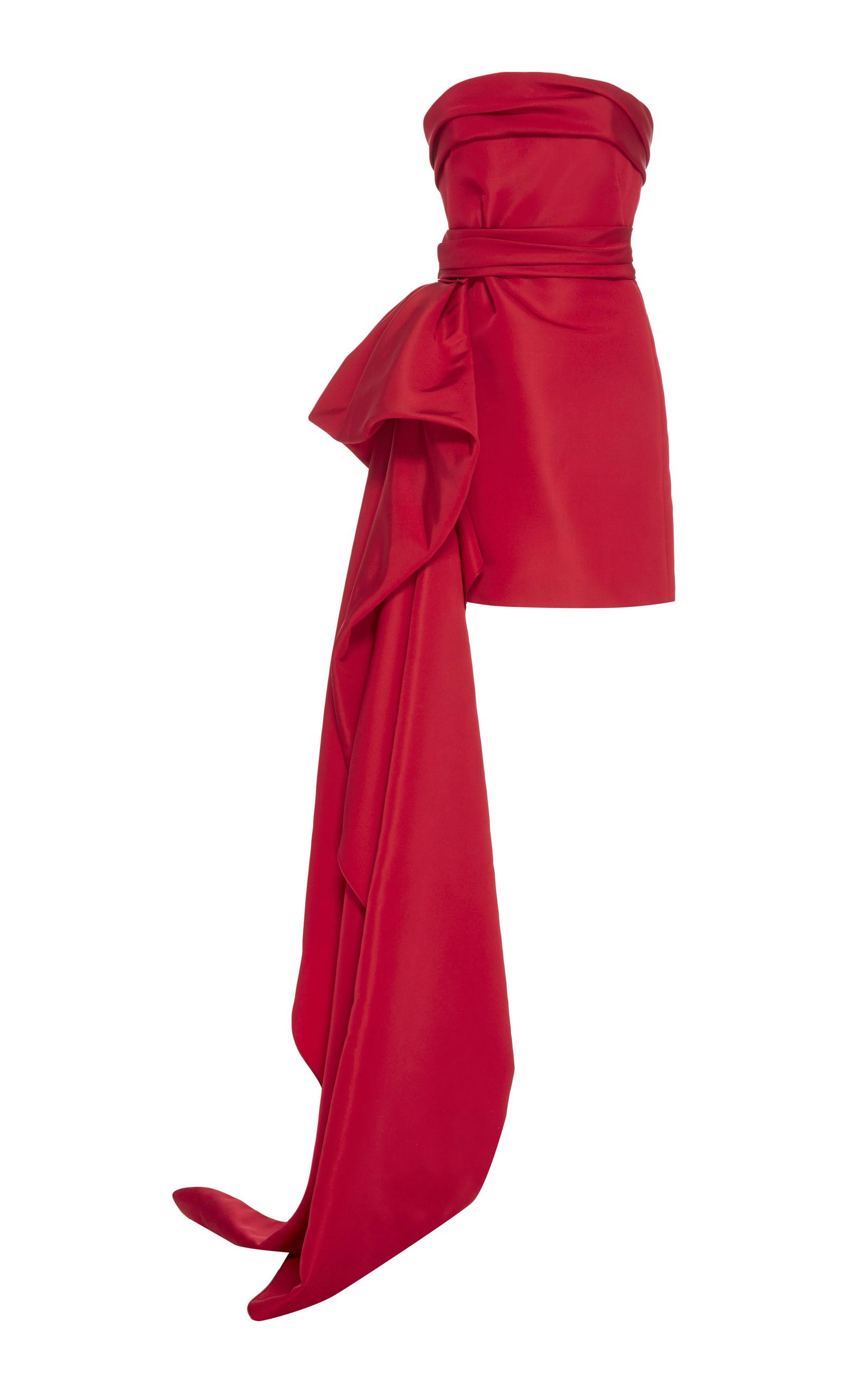 Lyst - Reem Acra Strapless Faille Mini Dress With Draped Peplum in Red
