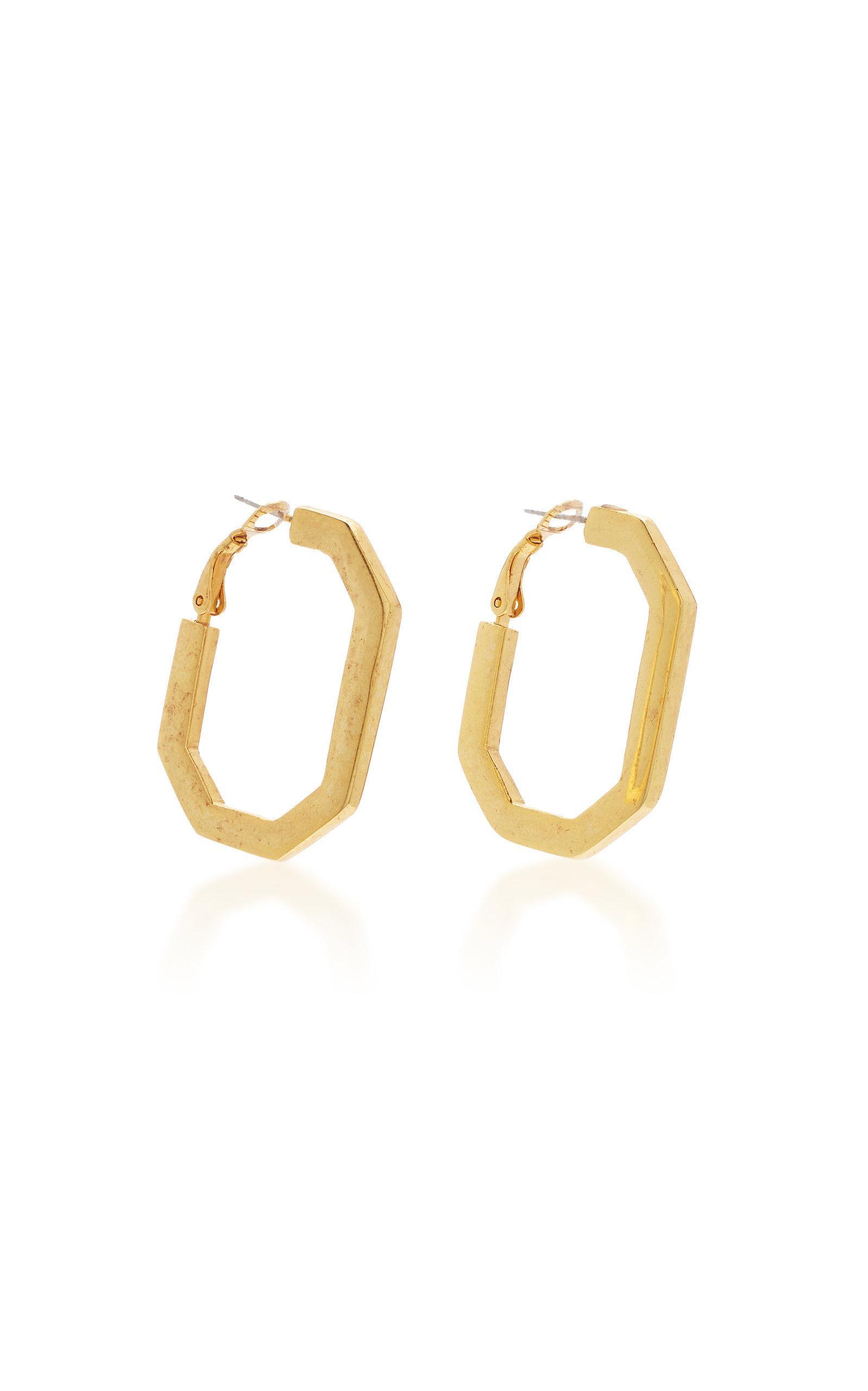 Oscar de la Renta Gold Crystal Earrings in Metallic - Lyst