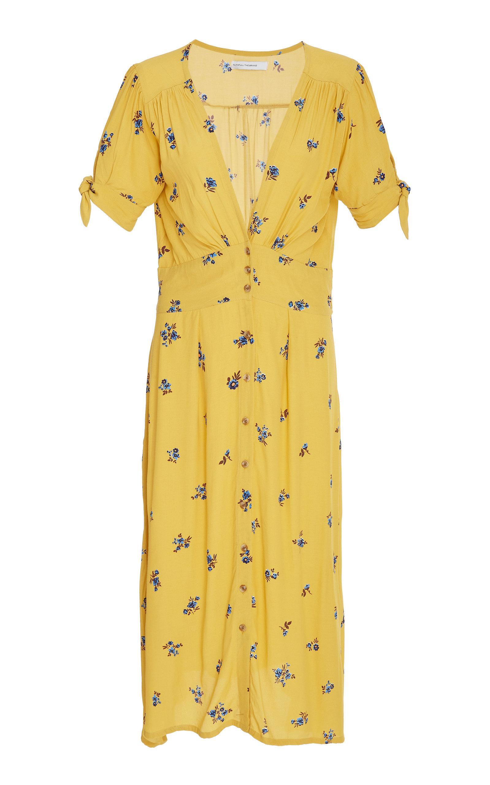 efd1a3e1b6b56 Faithfull The Brand Billie Short Sleeve Midi Dress in Yellow - Lyst