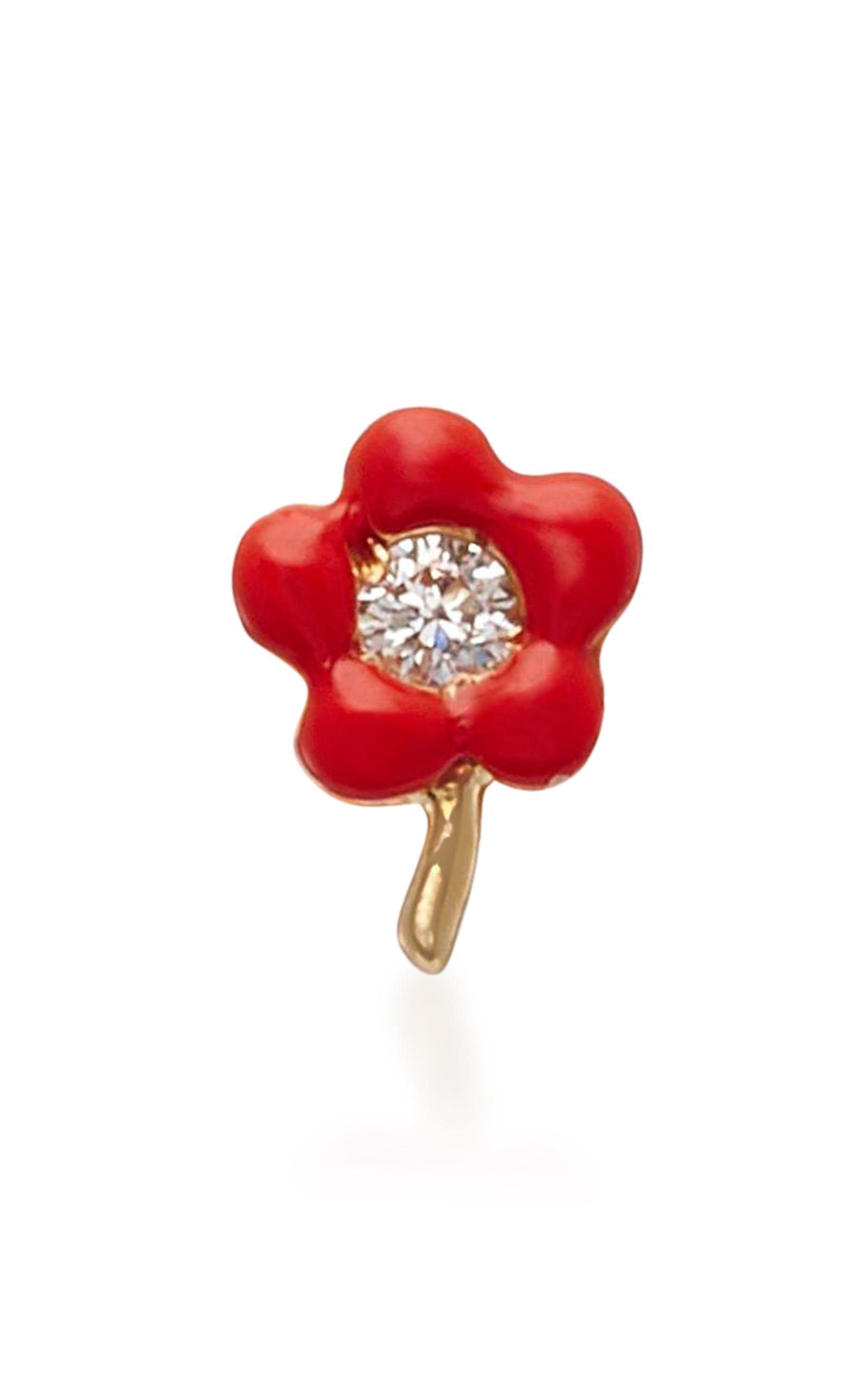 14K Gold Enamel and Diamond Flower Single Earring Alison Lou UxPKcm
