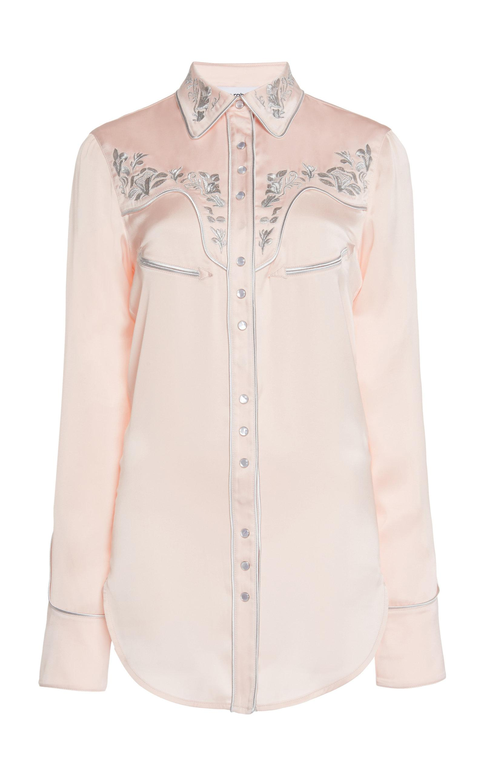 f54a4892 Lyst - Paco Rabanne Satin Embroidered Button Down Shirt in Pink