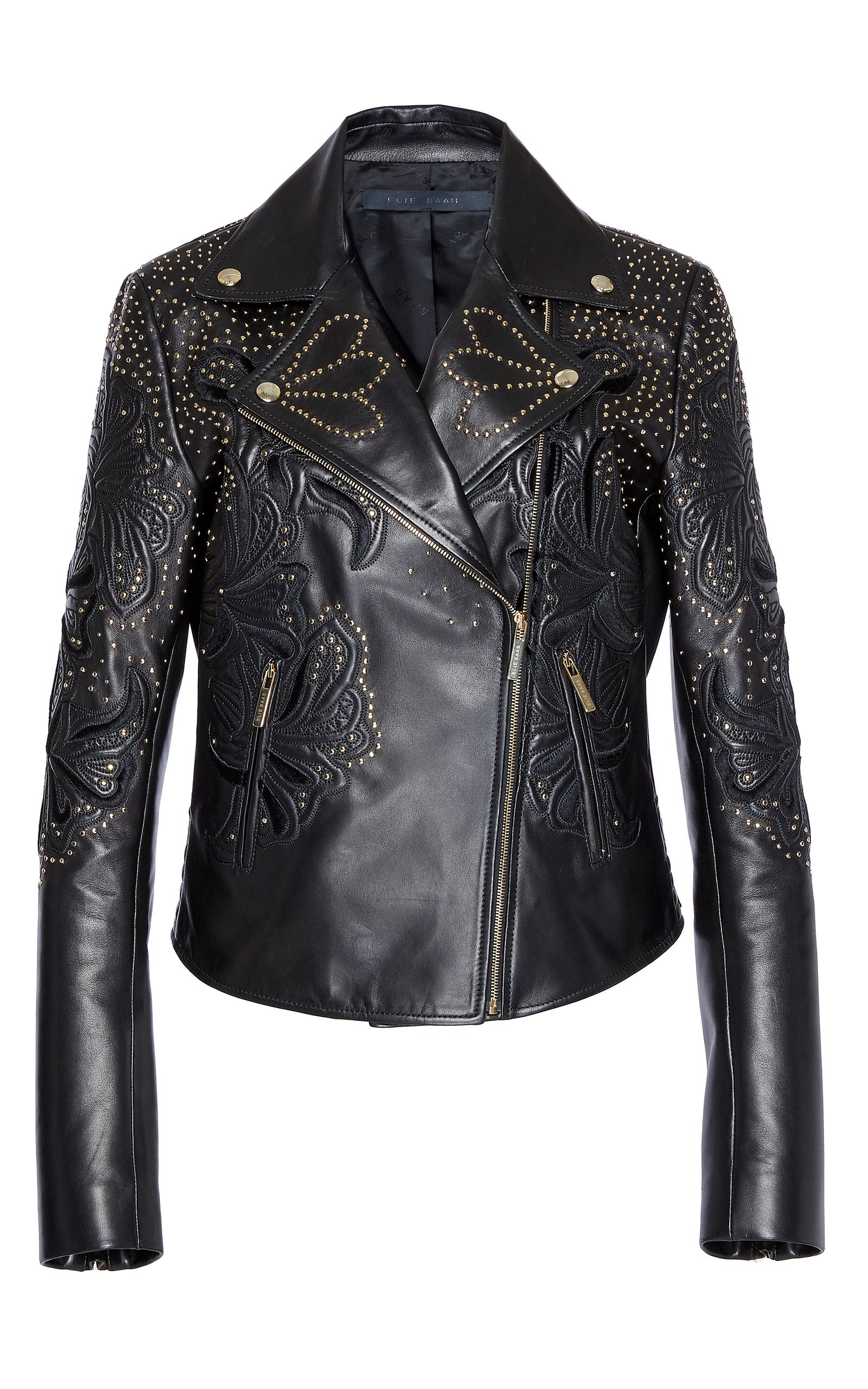 Elie Saab Embroidered Moto Leather Jacket In Black Lyst