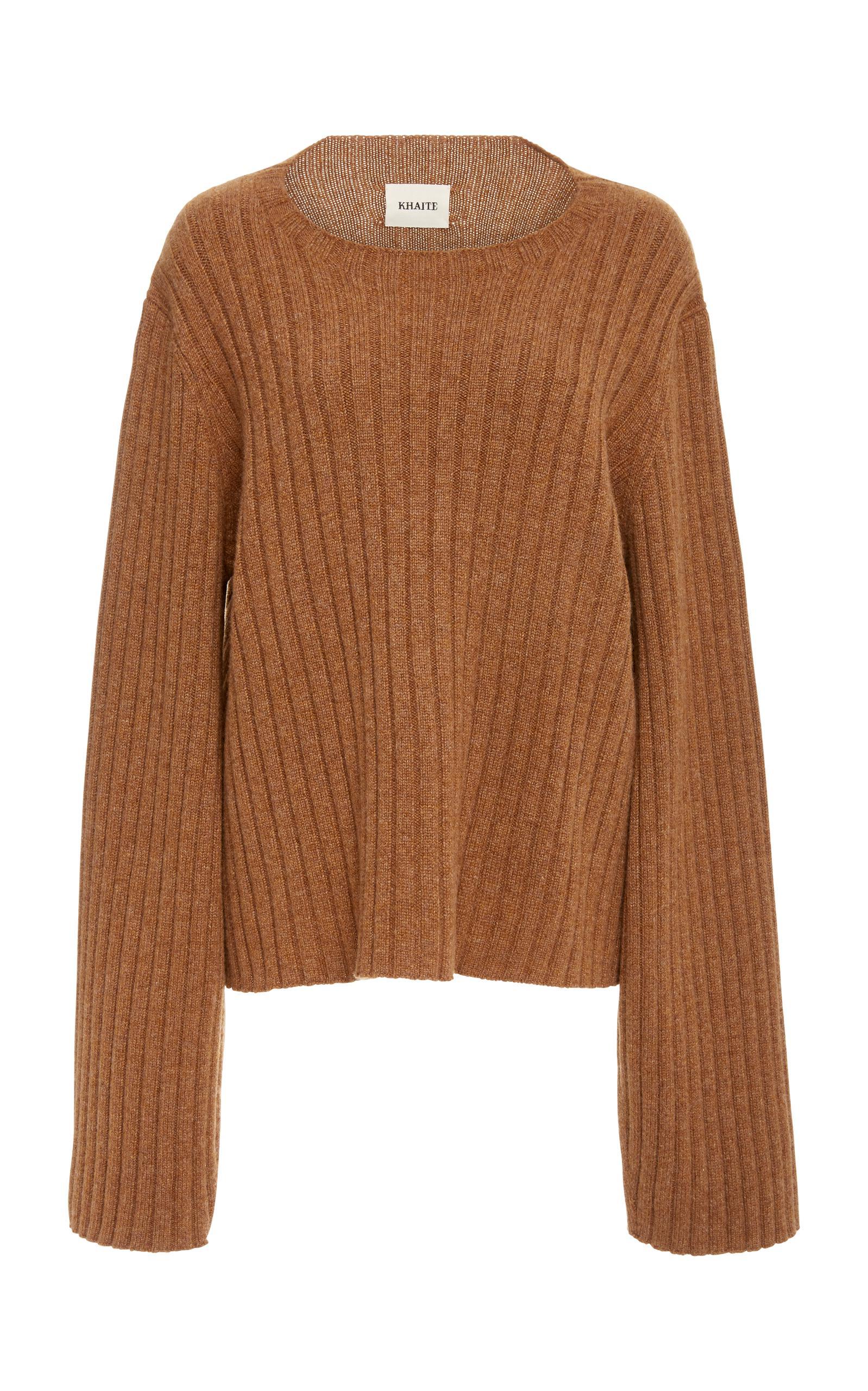 Khaite Loretta Rib Knit Sweater in Brown | Lyst