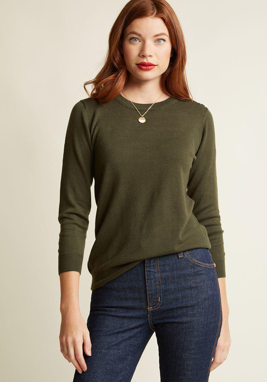 Lyst - Modcloth Charter School Pullover Sweater in Green 3f9b4367d