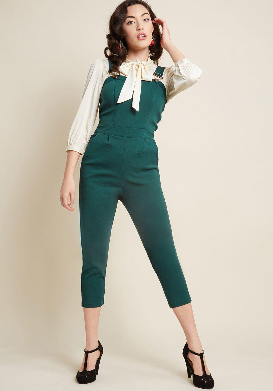 8b634f24c02ad Lyst - ModCloth Pinup Junction Jumpsuit in Green