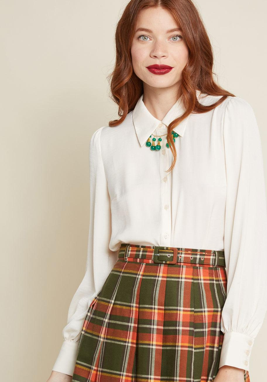 ac1199249d9 ModCloth - White Undeniably Inspired Collared Blouse - Lyst. View fullscreen