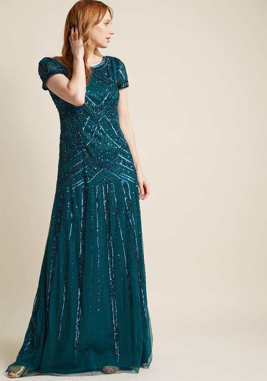 b03b7508 Lyst - Adrianna Papell Sequined Vision Maxi Dress in Green