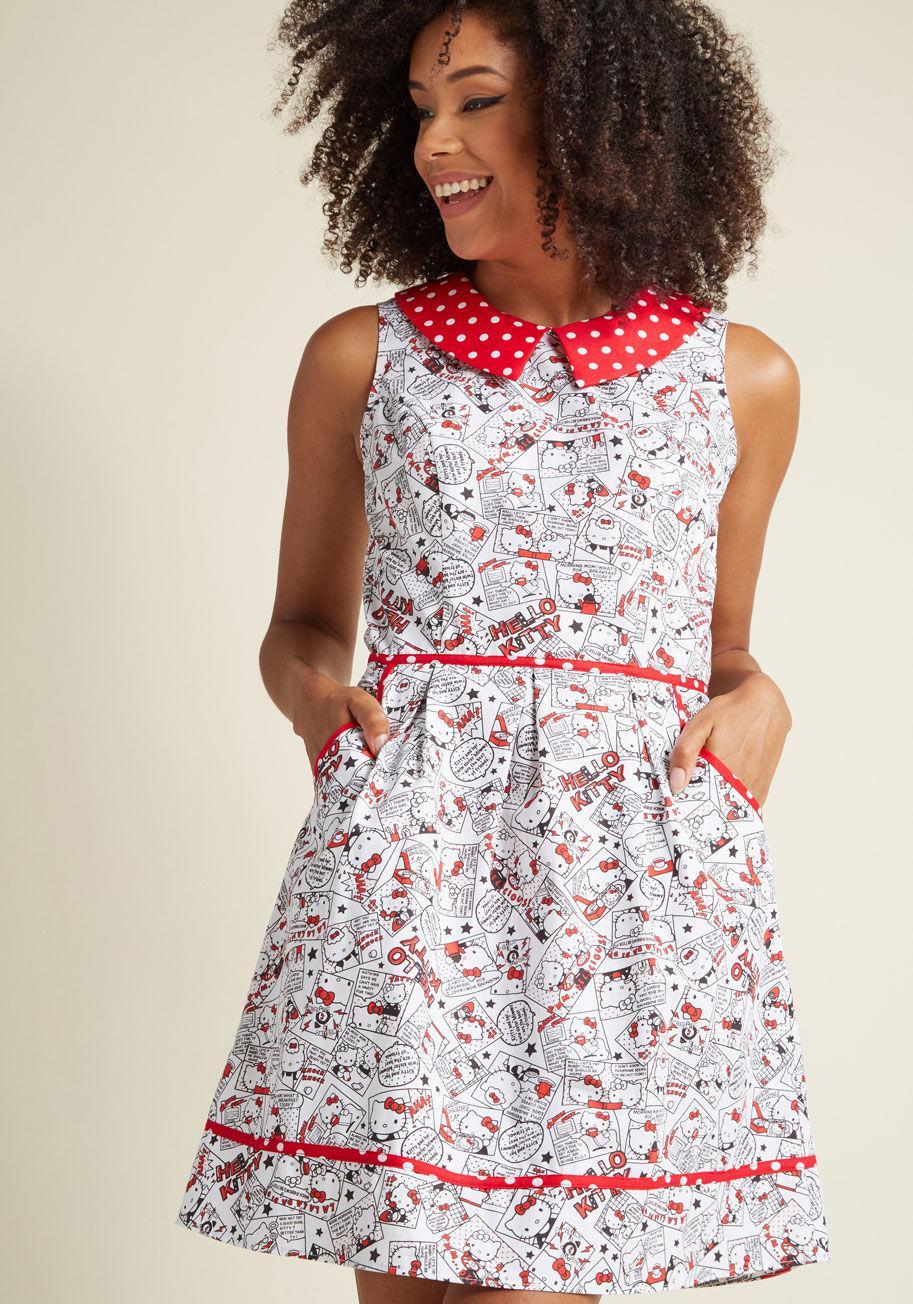 3d4cf2f4b ModCloth Rad To The Bone A-line Dress In Hello Kitty - Lyst