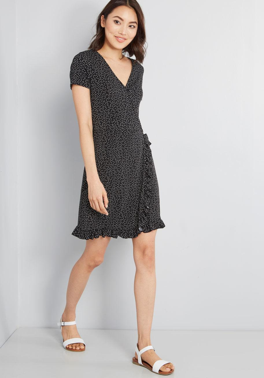 f3bf109b272 ModCloth - Black Chance Encounter Faux Wrap Dress - Lyst. View fullscreen