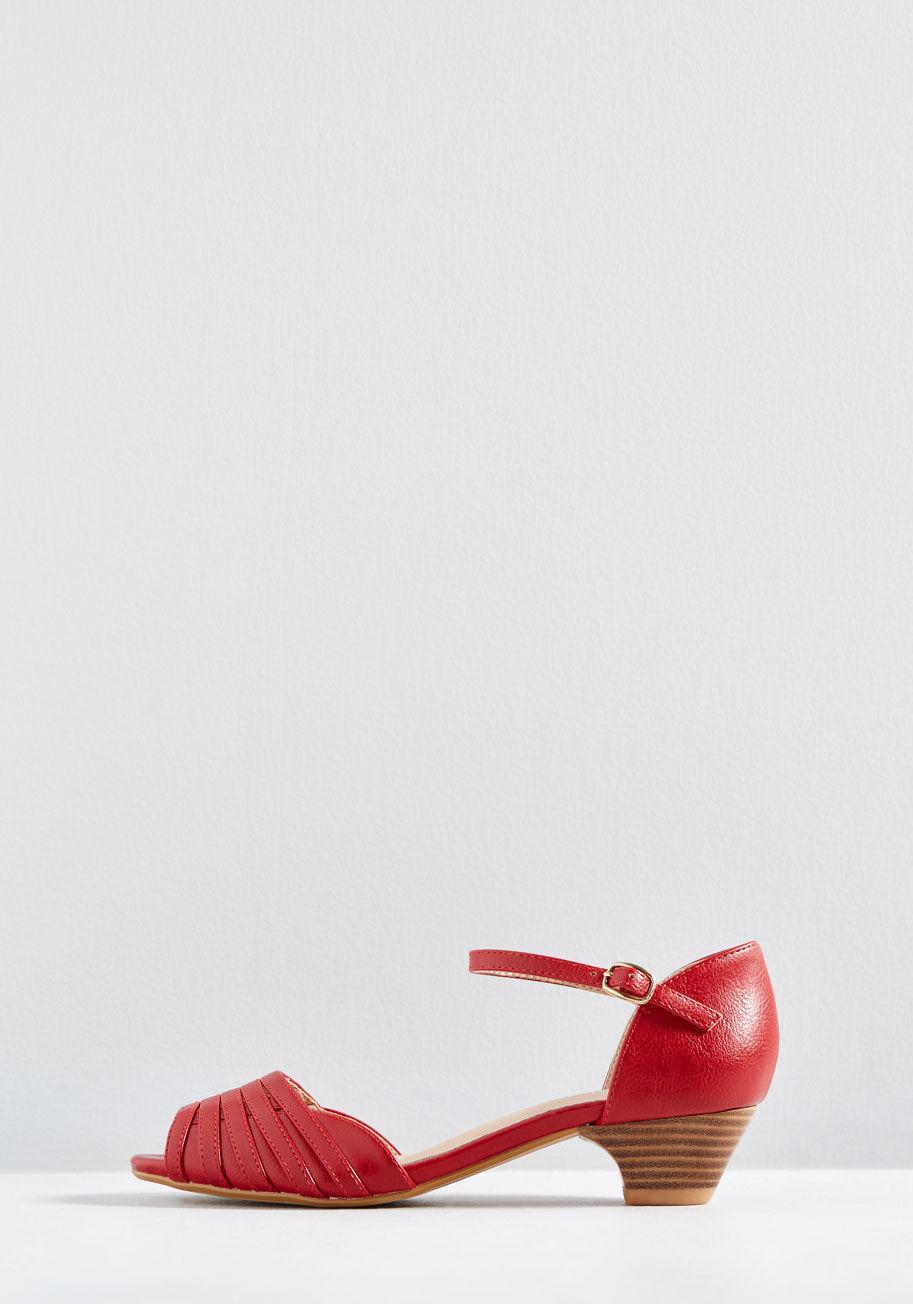 998c57f66001 ModCloth - Red Mid-height Delights Peep Toe Heel - Lyst. View fullscreen