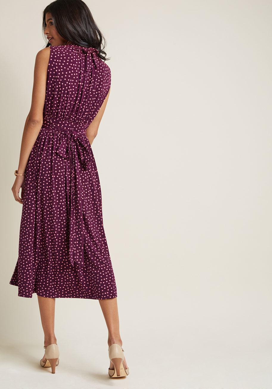 decc083ddf39 ModCloth Off To Ottawa Midi Dress In Purple Dots in Purple - Lyst