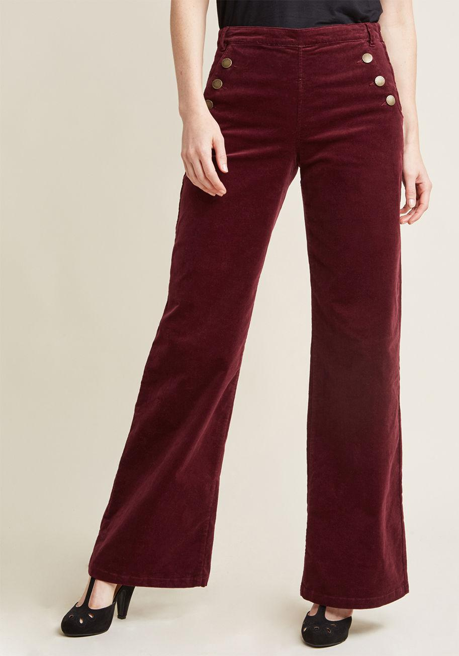 3af13cf95 Lyst - Modcloth Corduroy Wide-leg Trousers With Buttons in Red